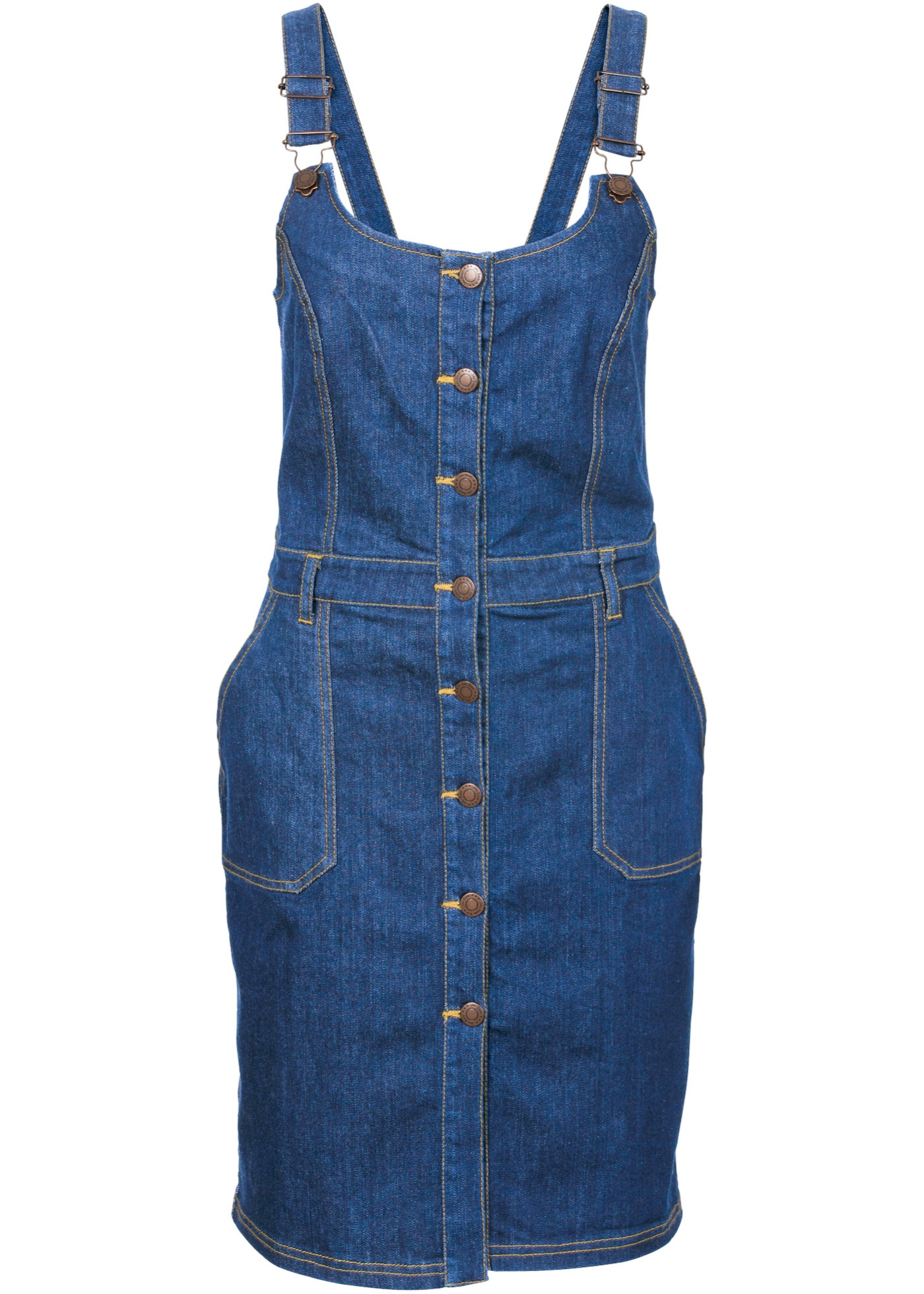 John Baner JEANSWEAR Stretch-Jeans-Latzkleid ohne Ärmel  in blau von bonprix