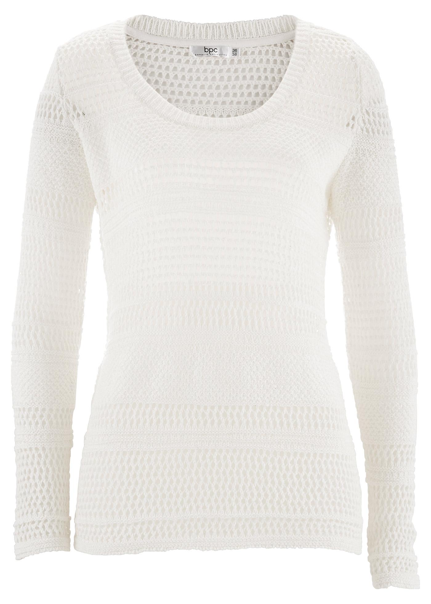 bpc bonprix collection Pullover, Langarm in weiß für Damen von bonprix Damenmode > Damenbekleidung > Damenpullover > Damen Pullover Rundhals
