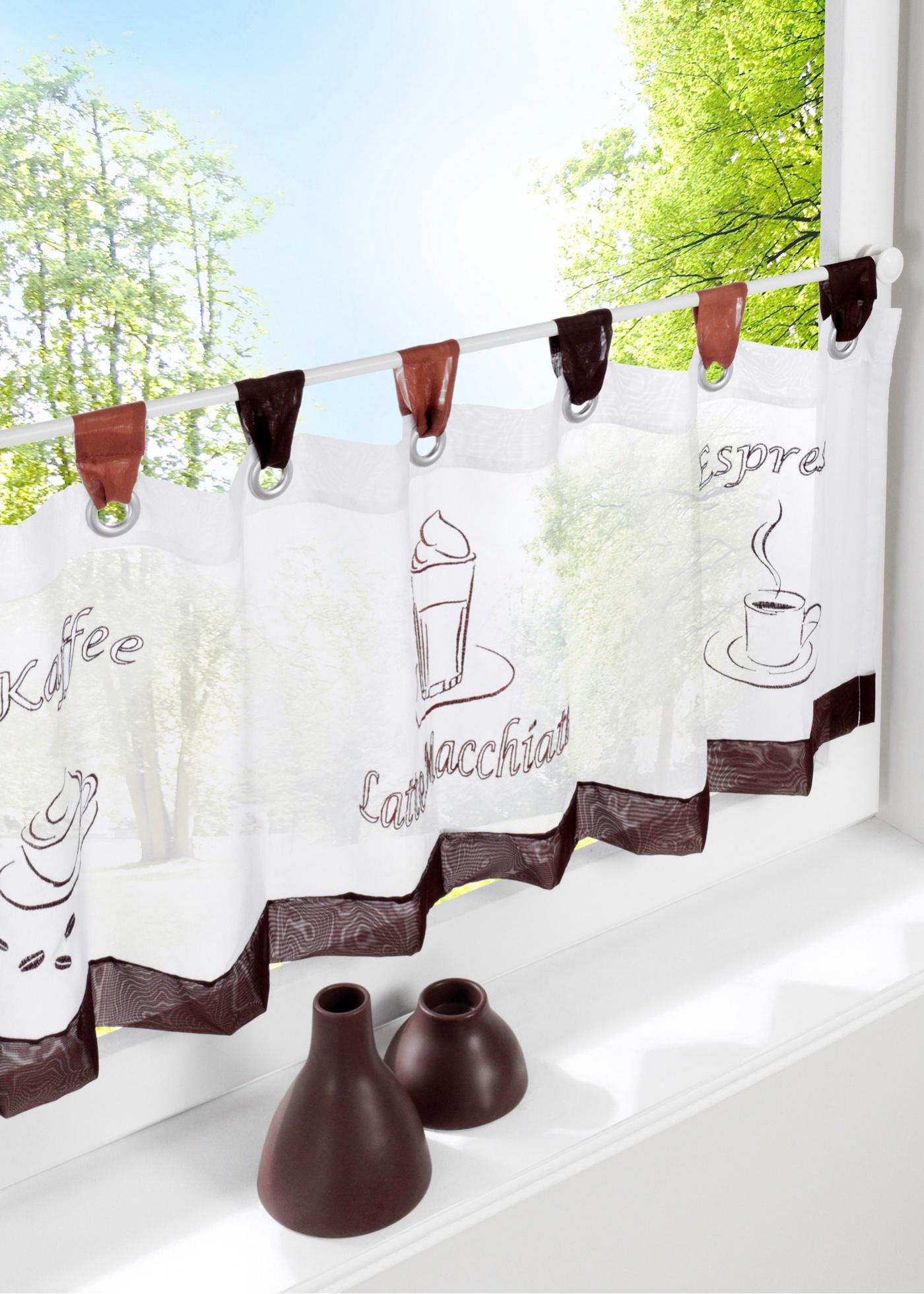 Bpc Living Kurzstore Kaffee, Schlaufen in weiß von bonprix