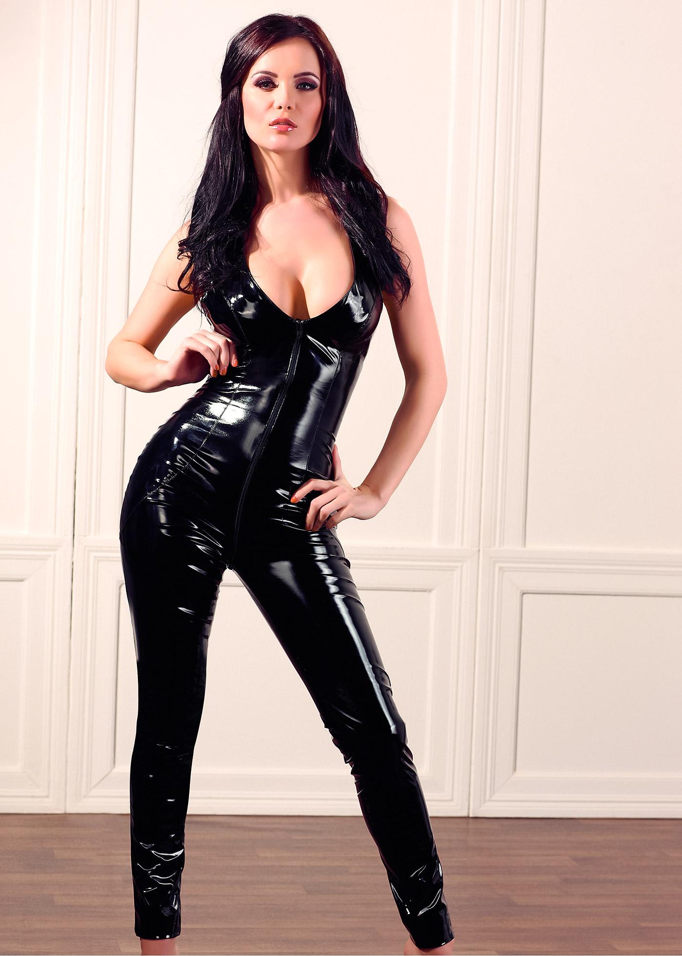Lackcatsuit in schwarz für Damen von bonprix Wäsche > Unterwäsche Damen > Erotikwäsche > Damen Erotik-Wäsche