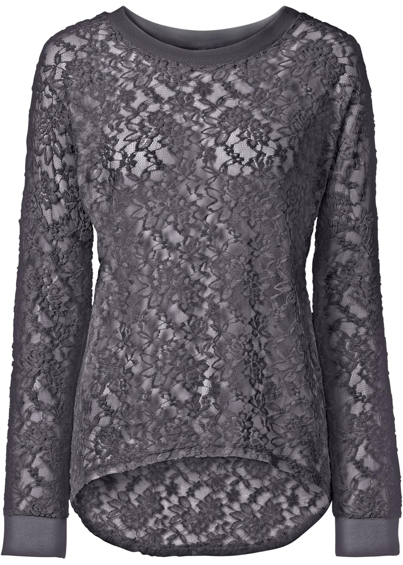 Spitzen-Shirt langarm  in grau für Damen von bonprix