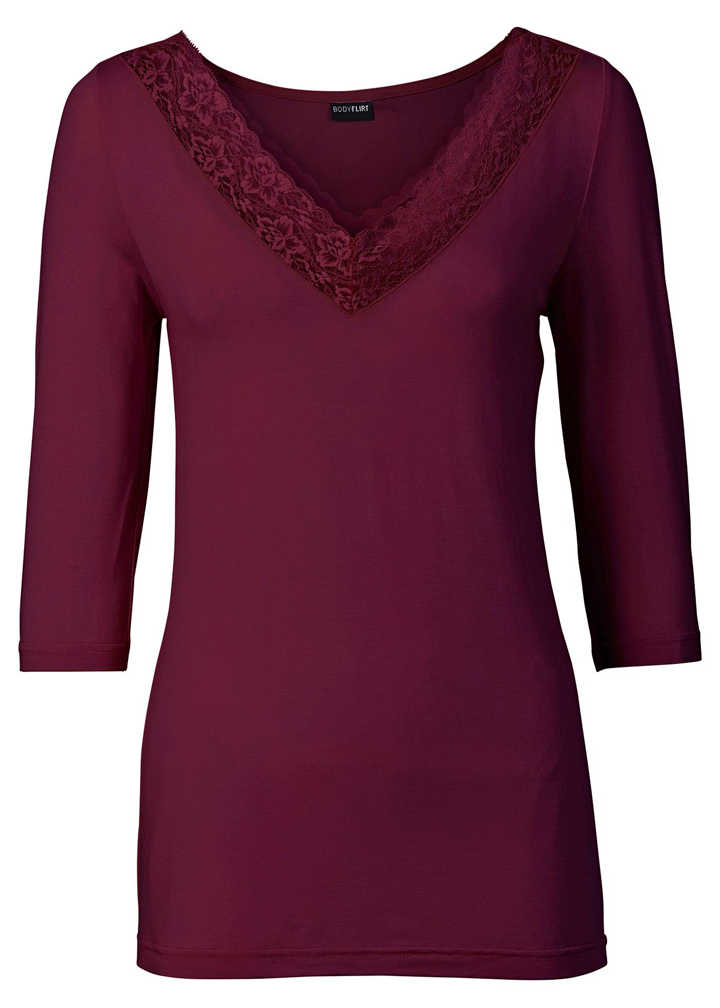 Shirt mit Spitze 3/4 Arm  in rot für Damen von bonprix