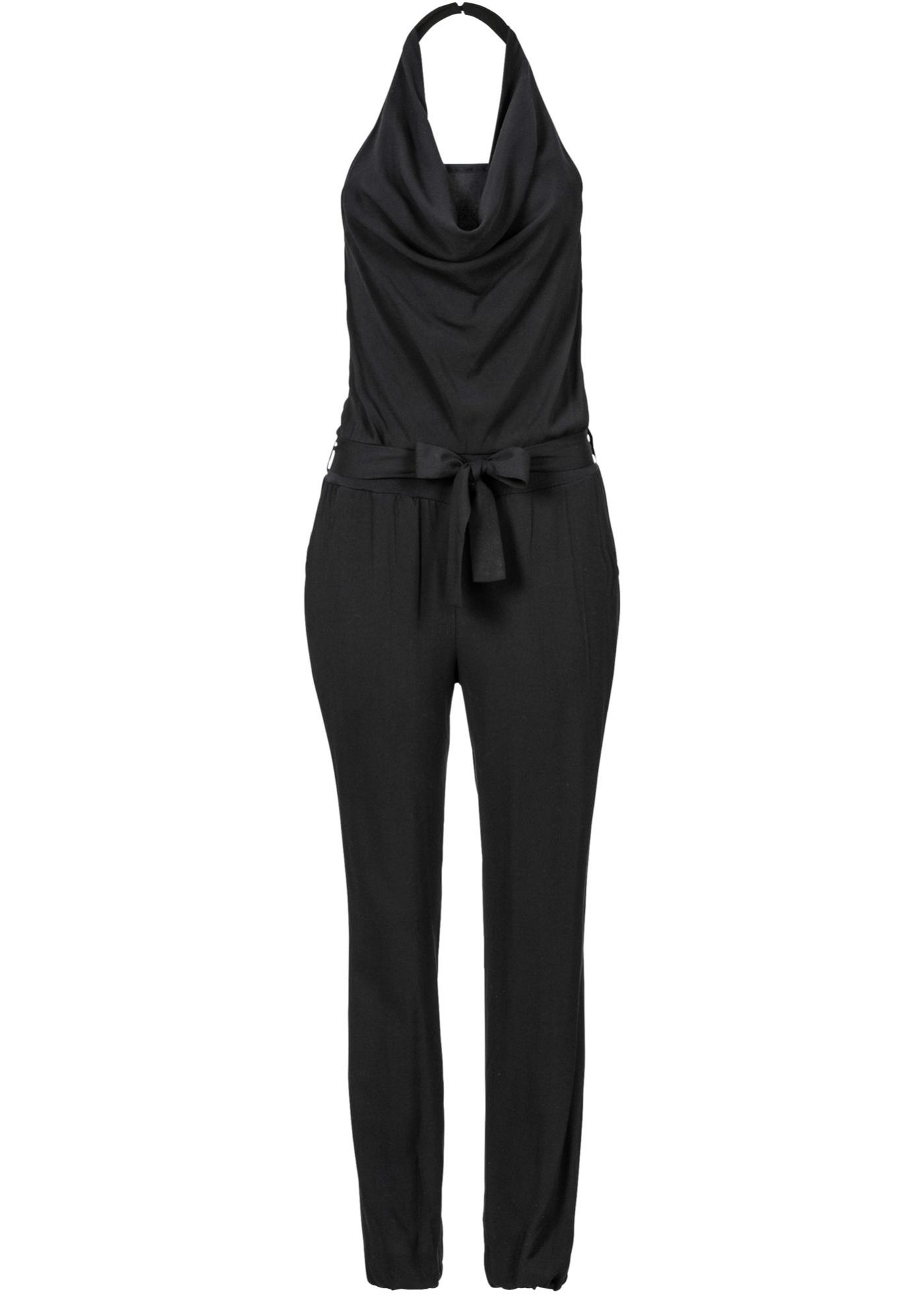 Rainbow Jumpsuit ohne Ärmel  in schwarz (Wasserfall-Ausschnitt) für Damen von bonprix