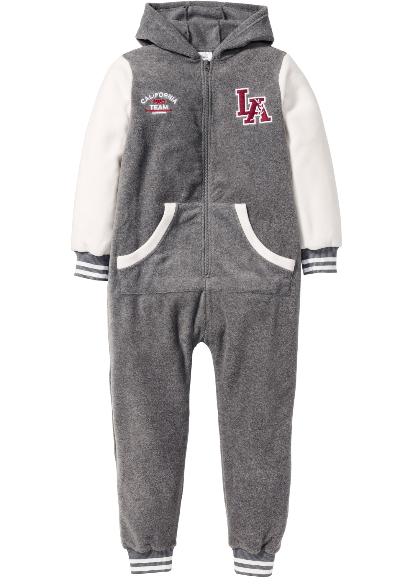 bpc bonprix collection Kuscheliger Fleece Overall, Gr. 116-170 langarm  in grau von bonprix