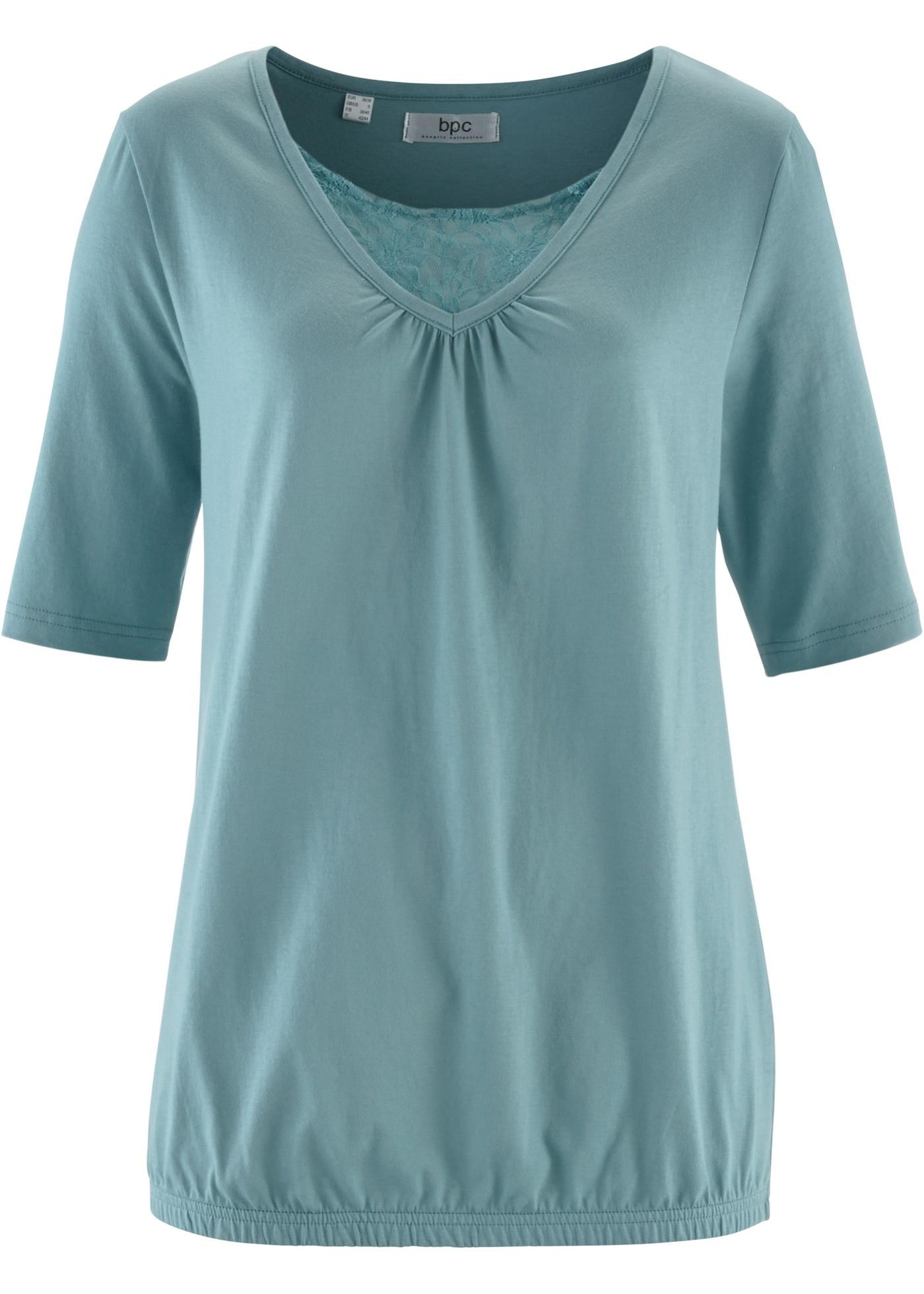 Rainbow bpc bonprix collection Shirt mit Spitze, Halbarm in blau für Damen von bonprix