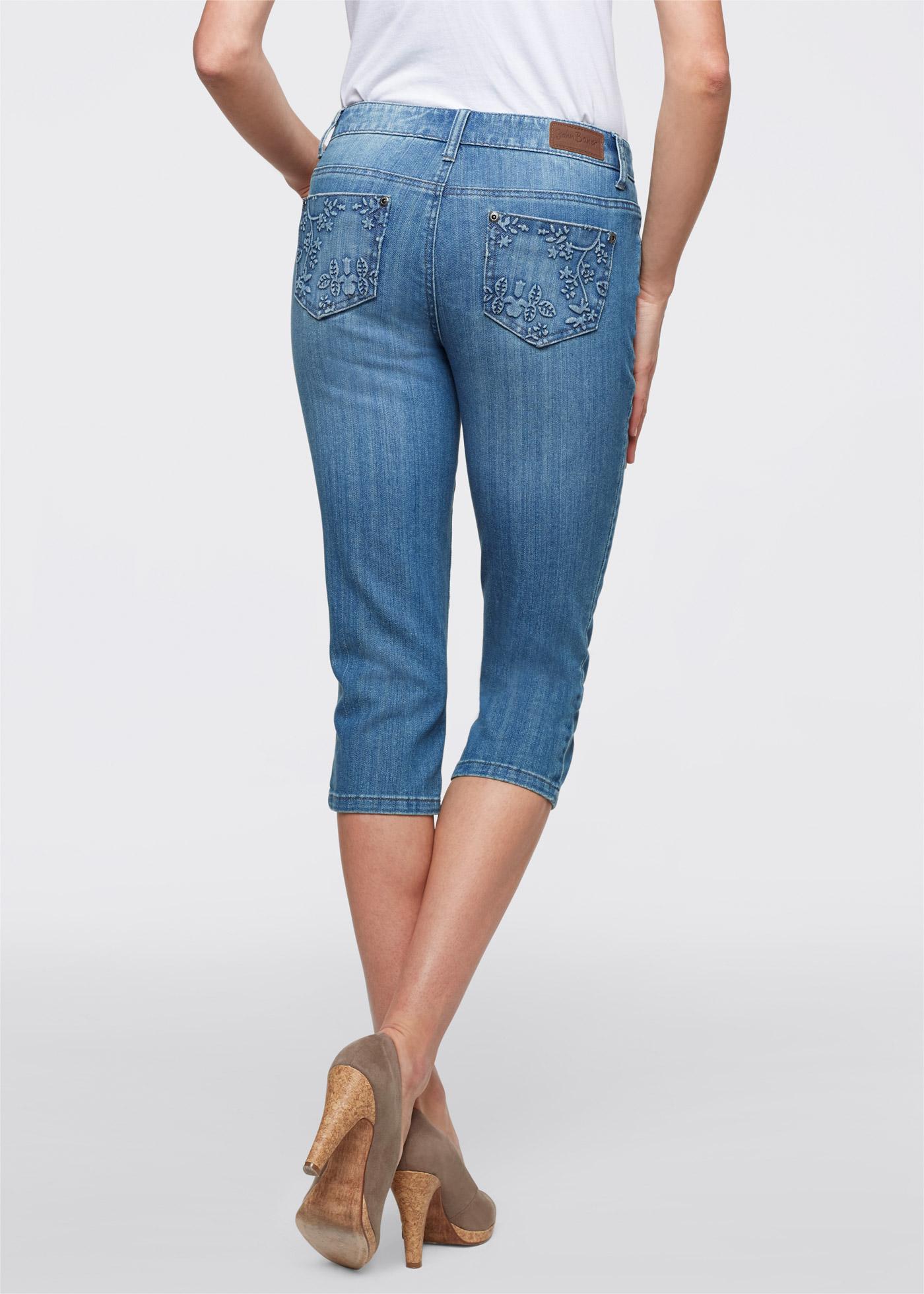 damen hose bequeme 3 4 hose stretch capri jeans gr 48 neu ebay. Black Bedroom Furniture Sets. Home Design Ideas