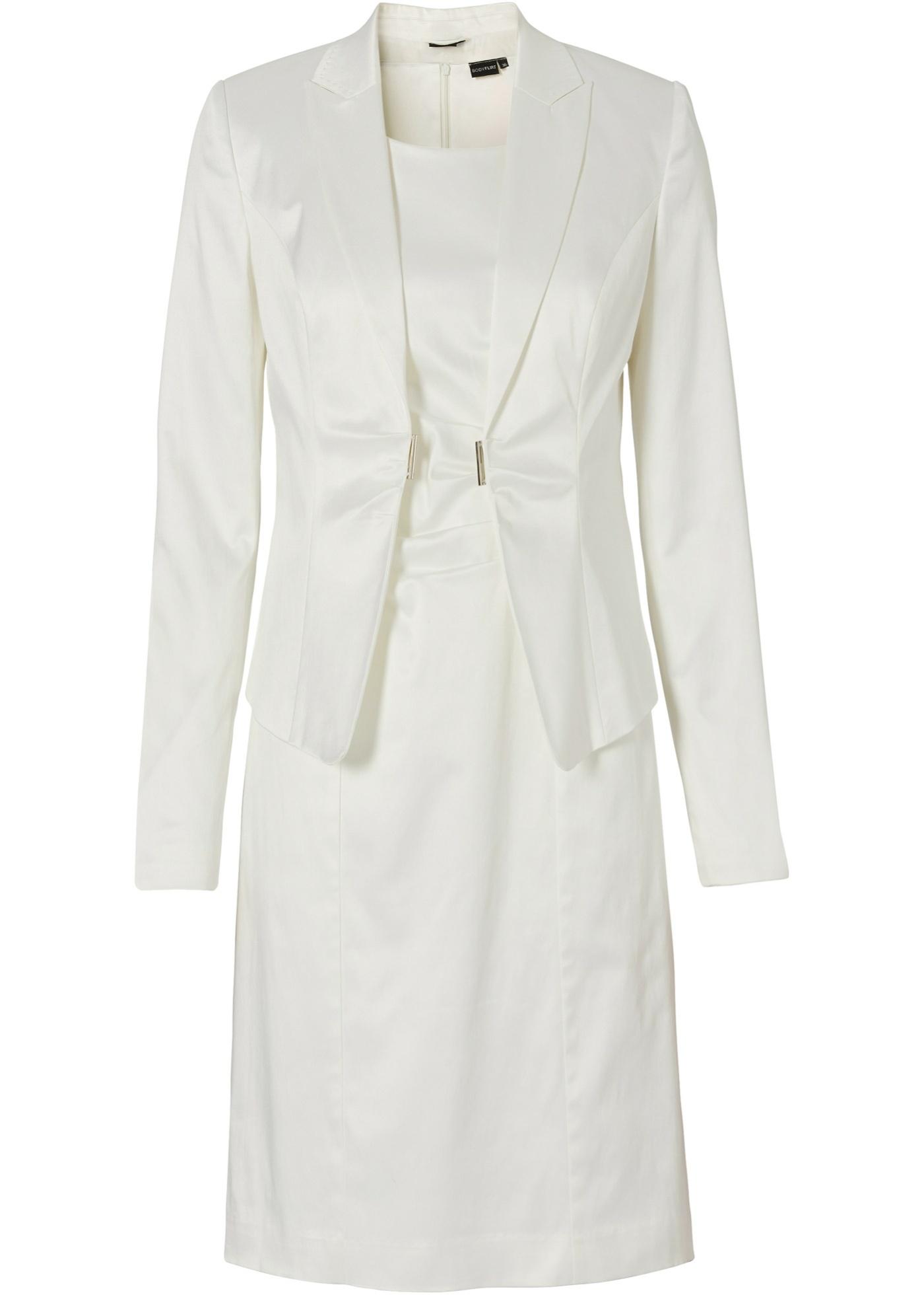 Kostüm Blazer + Kleid 2-tlg. Set in weiß für Damen von bonprix Damenmode > Damenbekleidung > Damenblazer