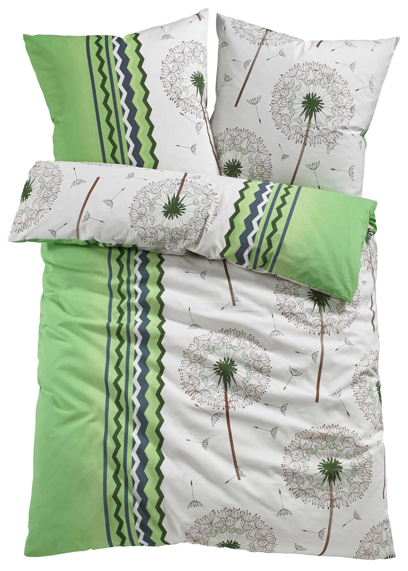 Bpc Living Bettwäsche Pusteblume, 2-tlg., 1x 80/80 cm + 1x 155/220 cm, Linon in grün von bonprix