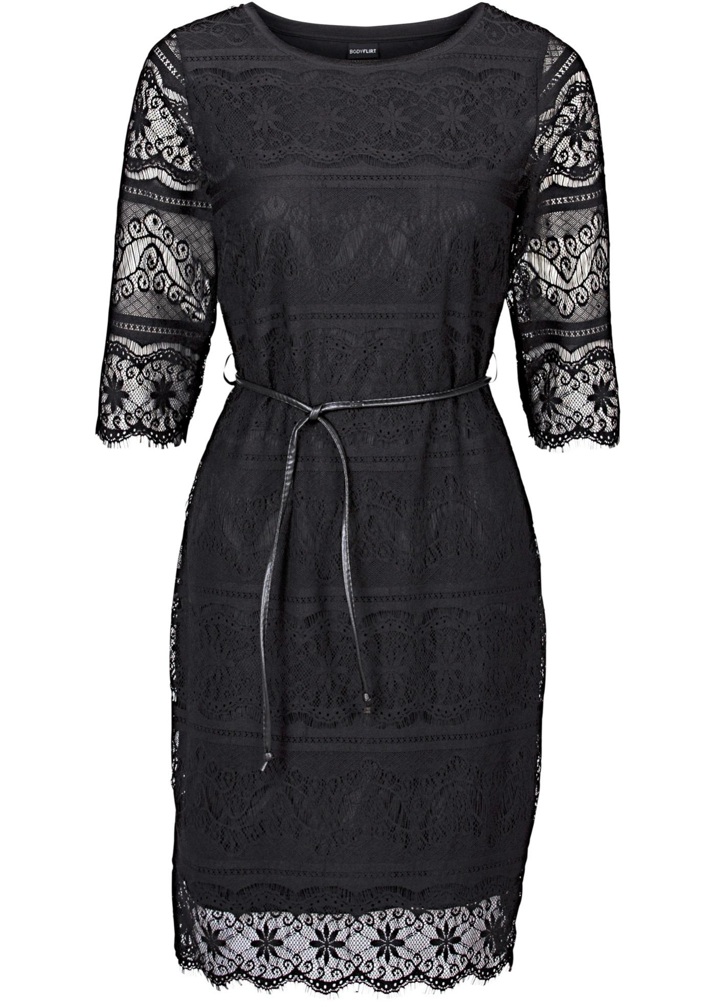 Bodyflirt Shirtkleid mit Spitze 3/4 Arm  in schwarz von bonprix