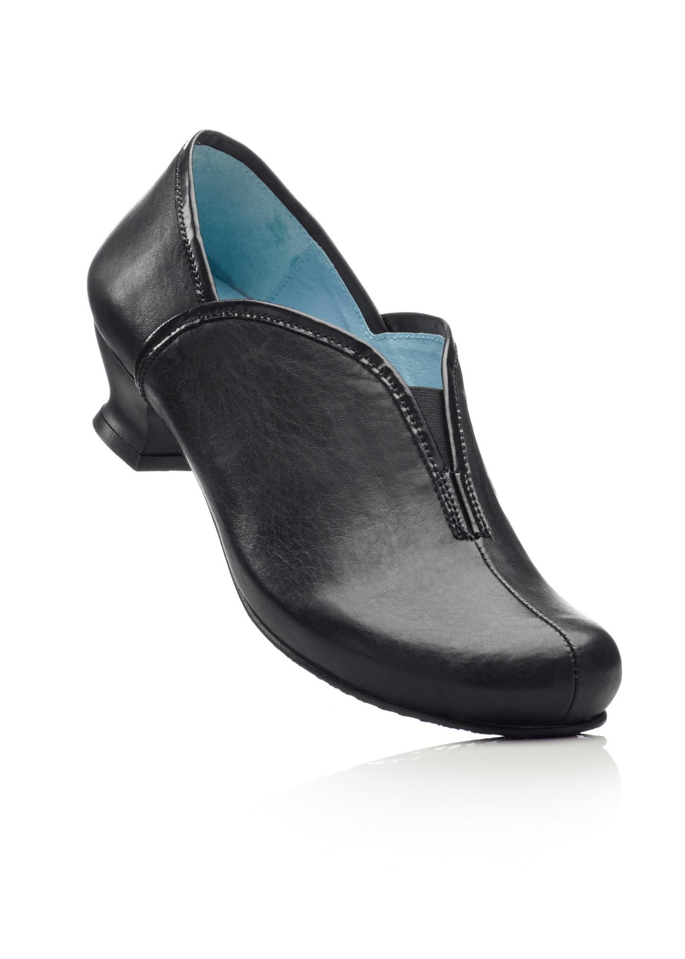 Ledertrotteur mit 4 cm Trichterabsatz in schwarz von bonprix Schuhe und Accessoires > Damenschuhe > Bequemschuhe