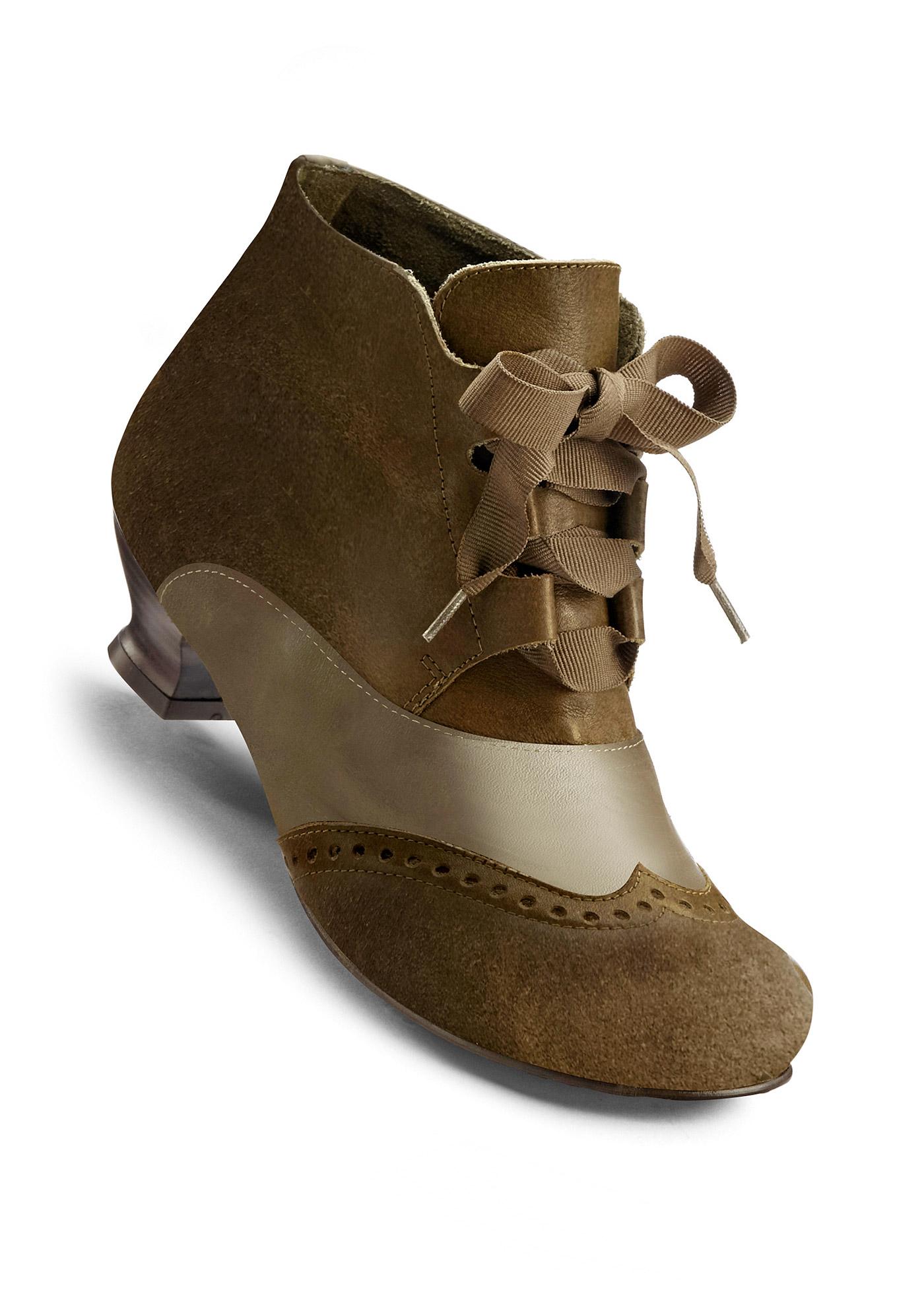 BioStep Lederstiefelette mit 4 cm Trichterabsatz in grün von bonprix Schuhe und Accessoires > Damenschuhe > Bequemschuhe