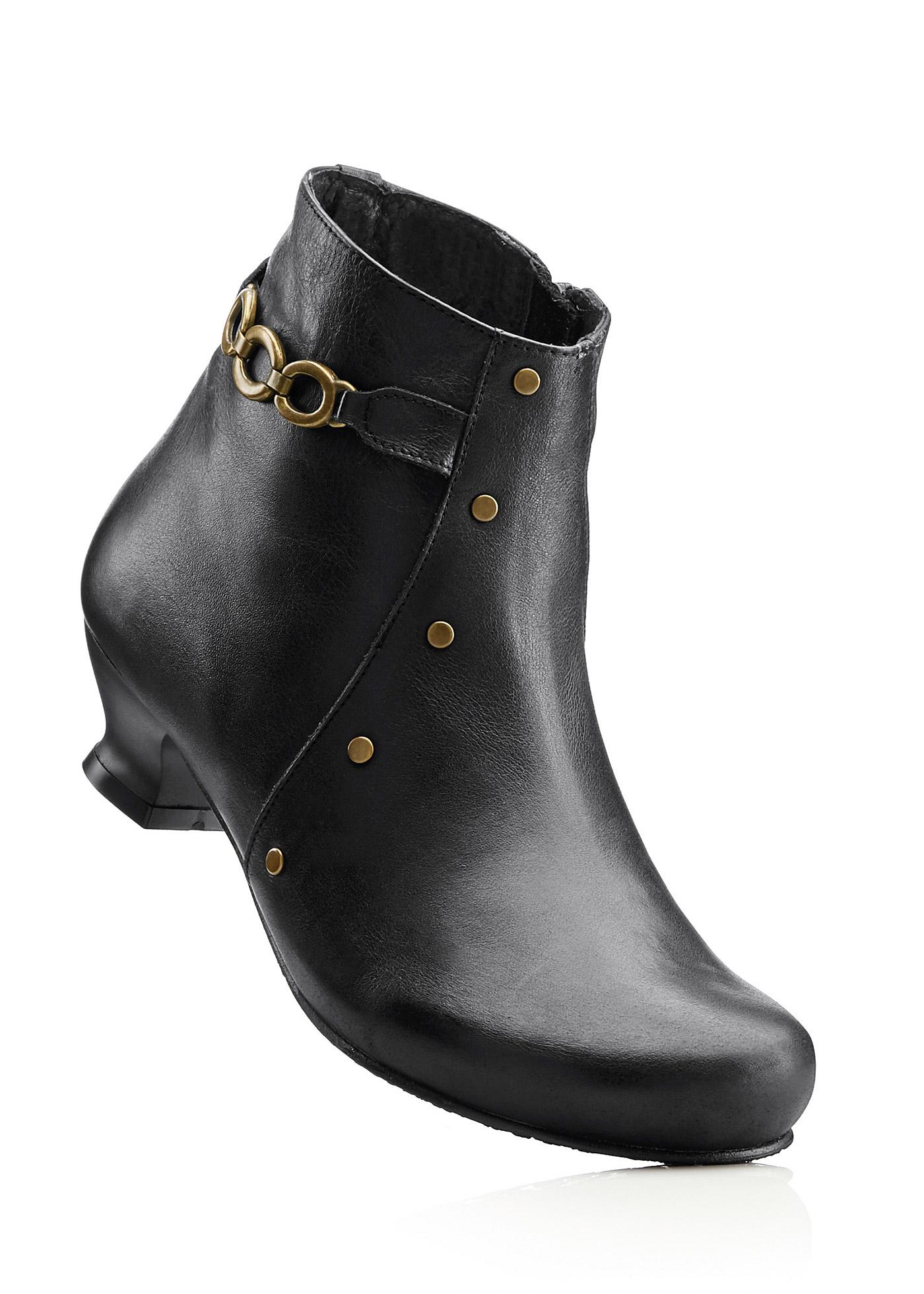 BioStep Lederstiefelette mit 4 cm Trichterabsatz in schwarz von bonprix Schuhe und Accessoires > Damenschuhe > Bequemschuhe