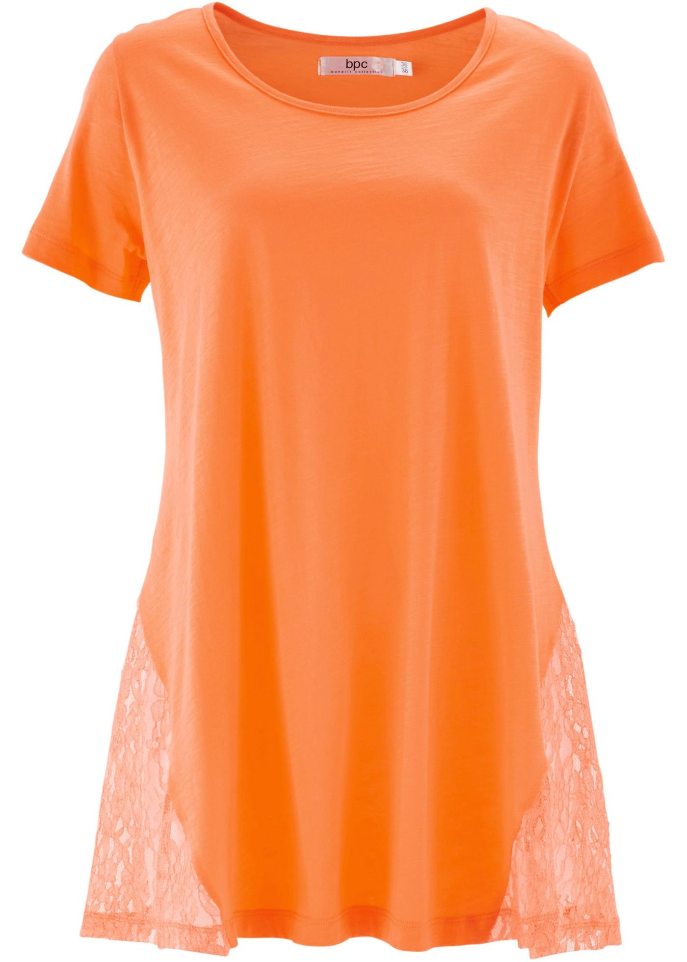 bpc bonprix collection Zipfel-Shirt mit Spitze, Halbarm in orange für Damen von bonprix
