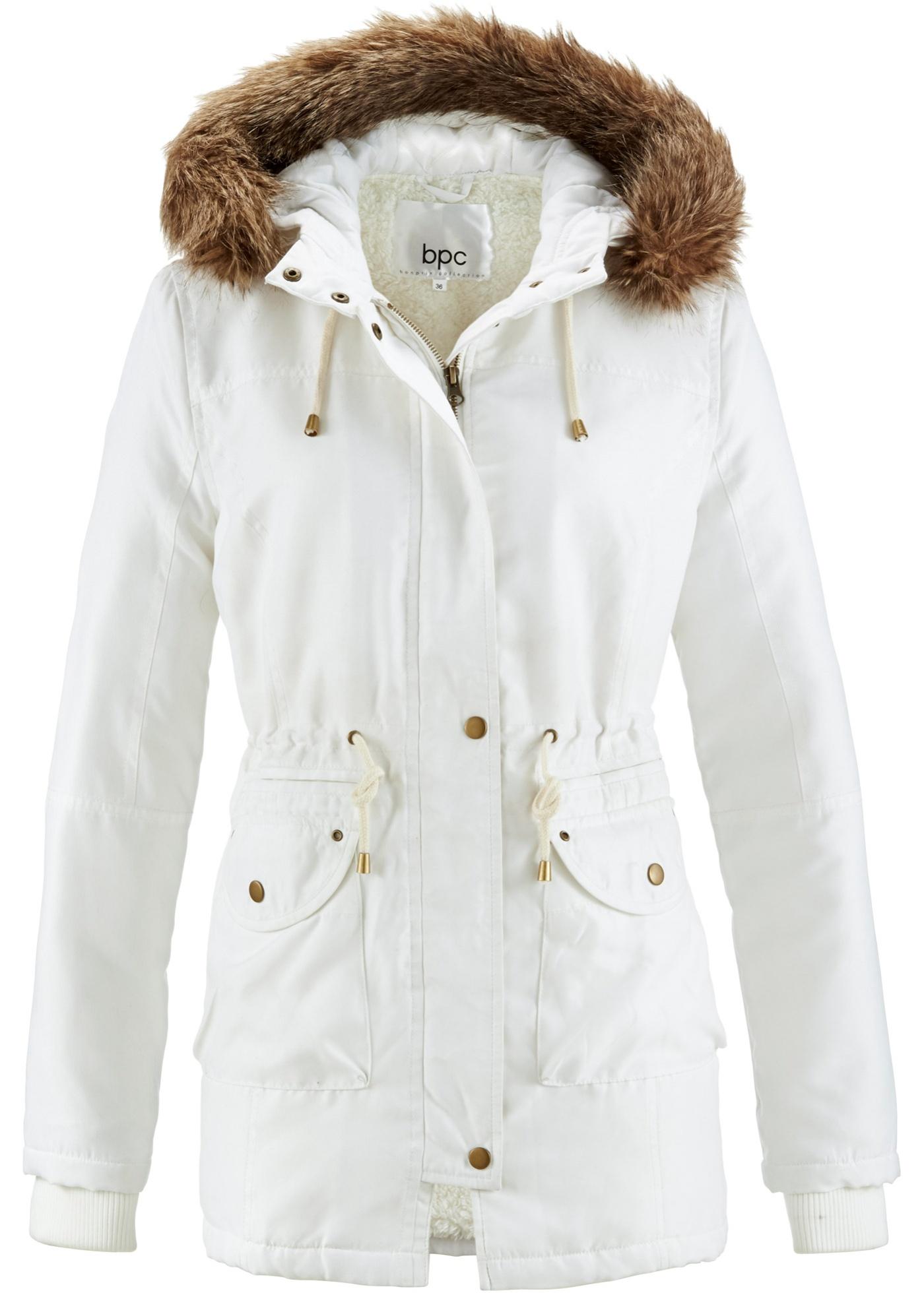bpc bonprix collection Jacke mit Teddyfell langarm  in weiß für Damen von bonprix Damenmode > Damenbekleidung > Damen Jacken & Mäntel > Jacken