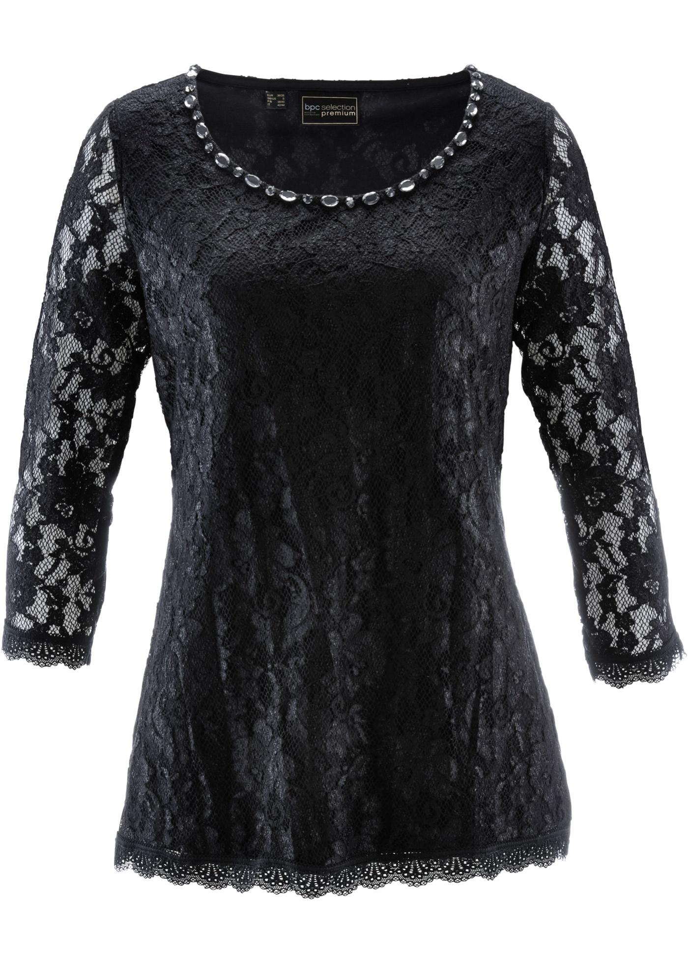 bpc selection premium Spitzenshirt 3/4 Arm  in schwarz für Damen von bonprix