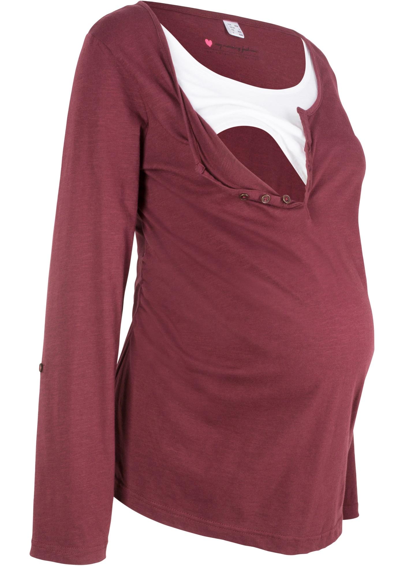 Stillshirt/Umstandsshirt mit langen Ärmeln zum Krempeln