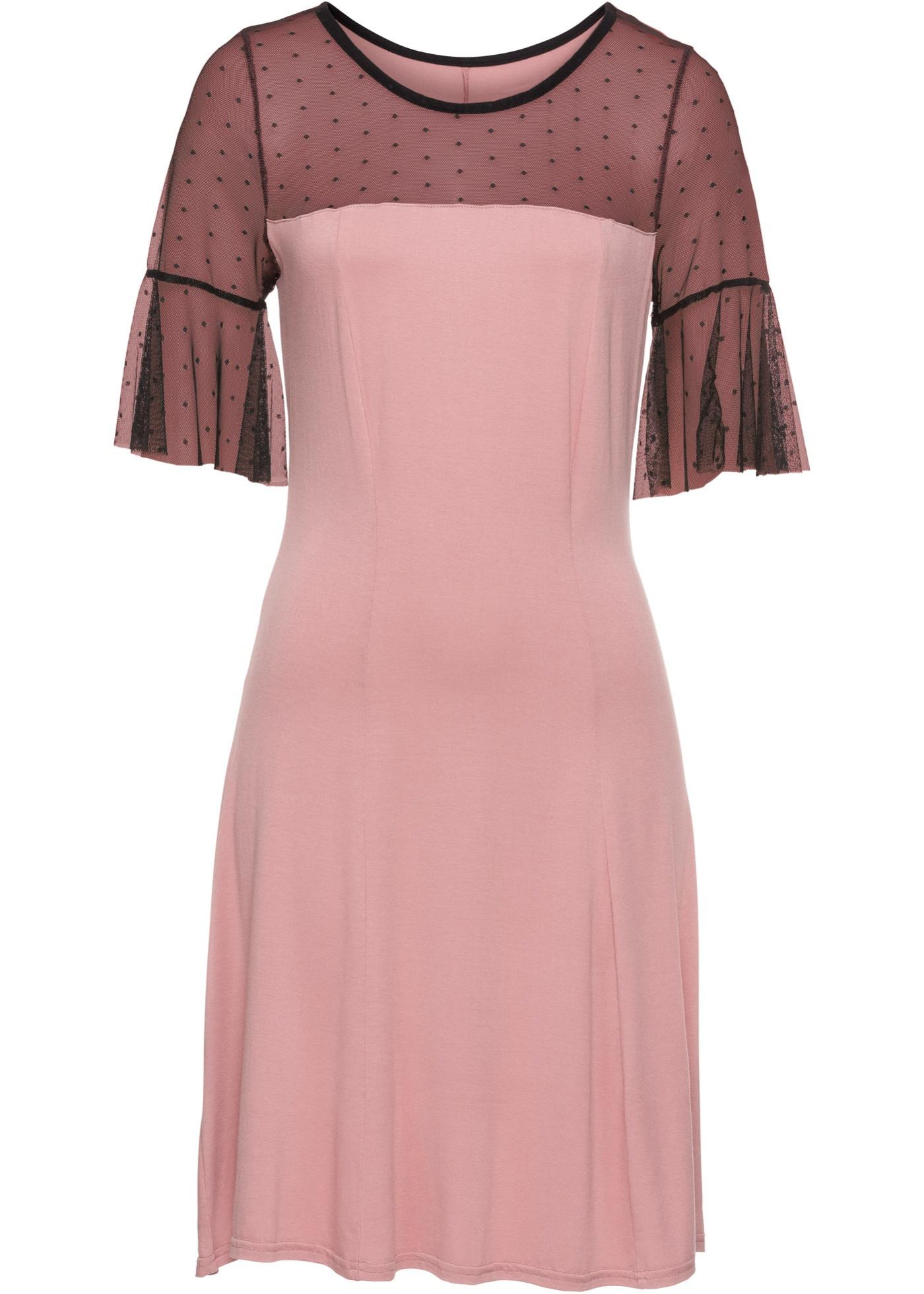 Jerseykleid mit gepunktetem Mesheinsatz