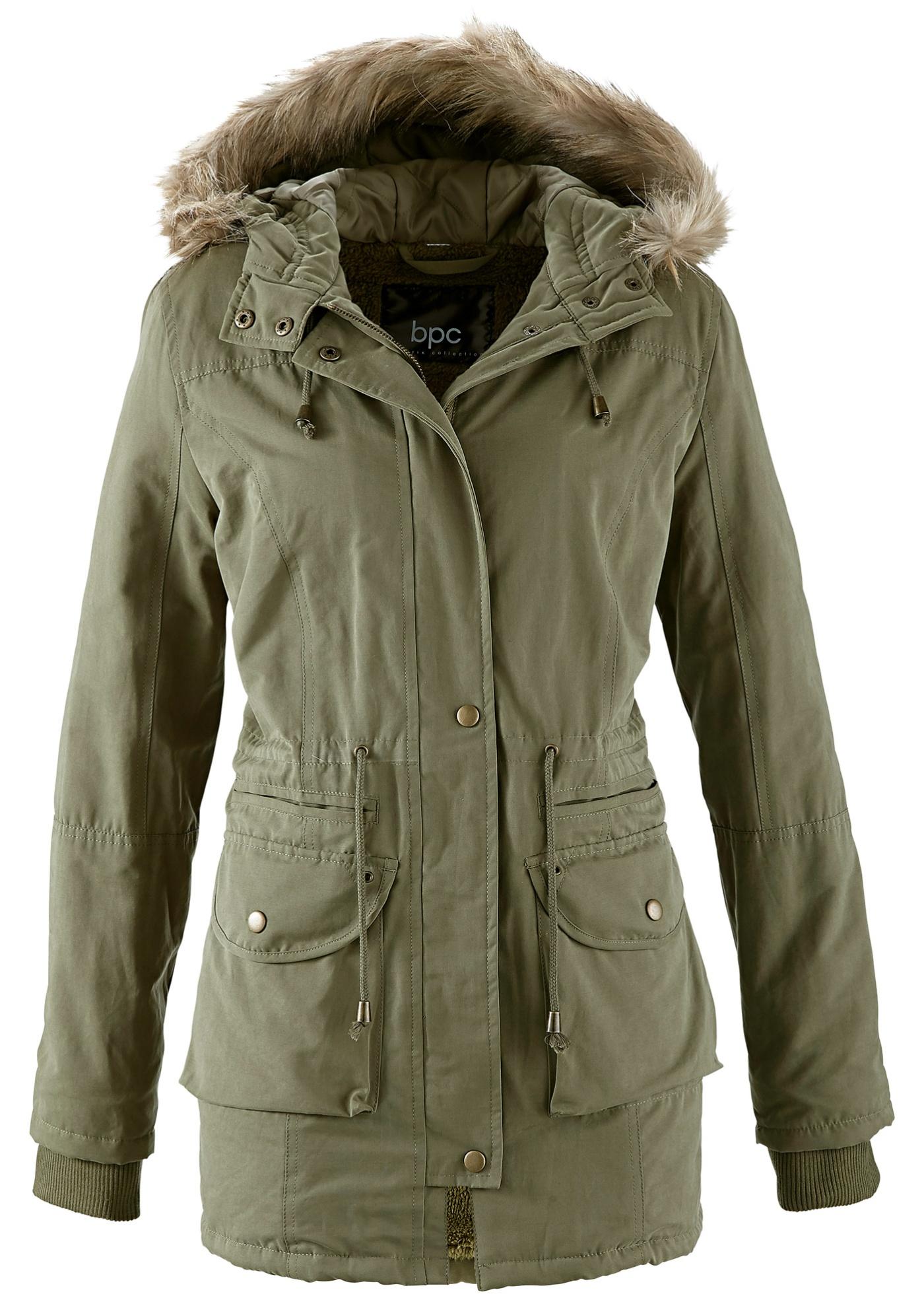bpc bonprix collection Jacke mit Teddyfell langarm  in grün für Damen von bonprix Damenmode > Damenbekleidung > Damen Jacken & Mäntel > Jacken