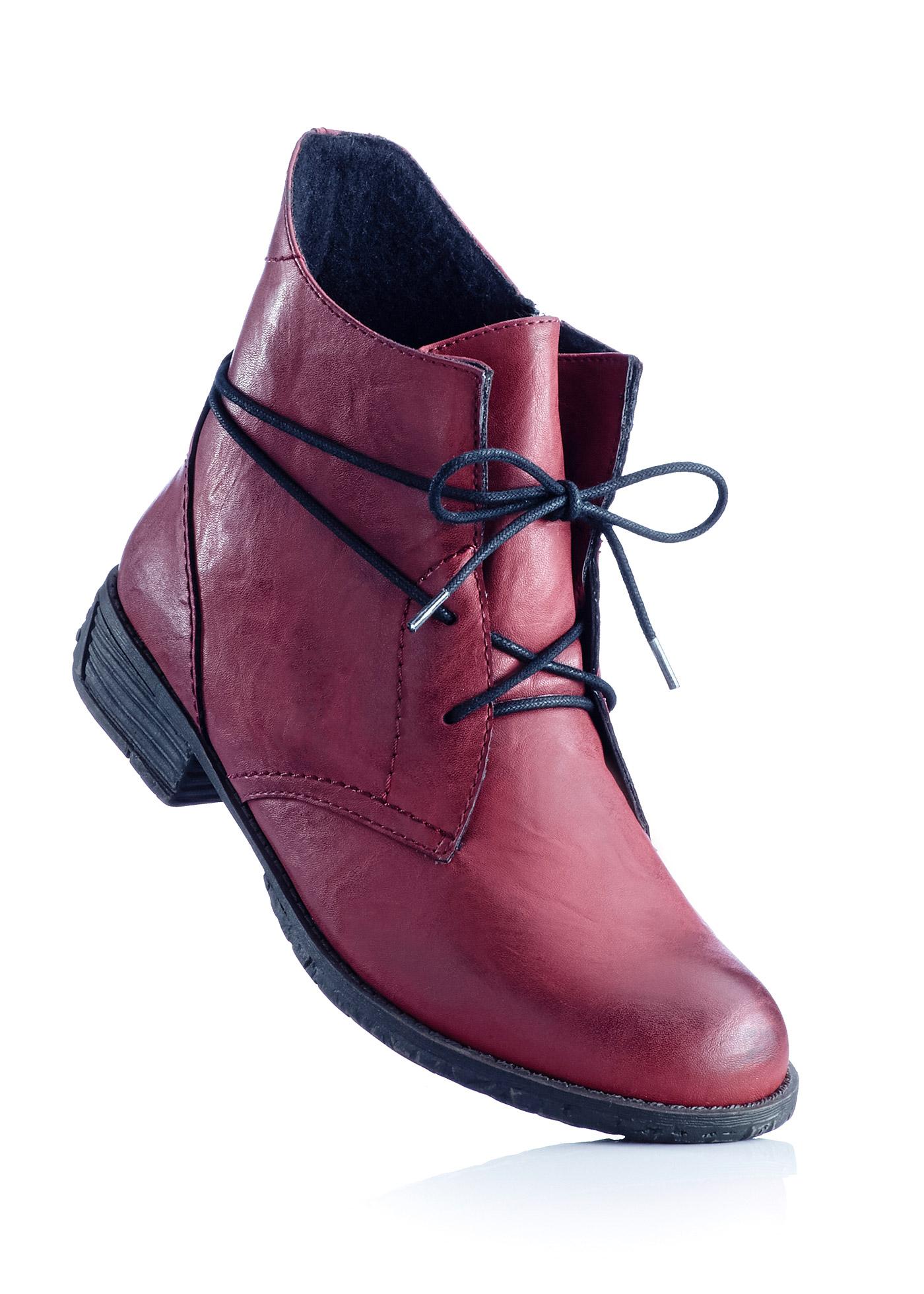 Schnürstiefelette in rot von bonprix Schuhe und Accessoires > Damenschuhe > Bequemschuhe