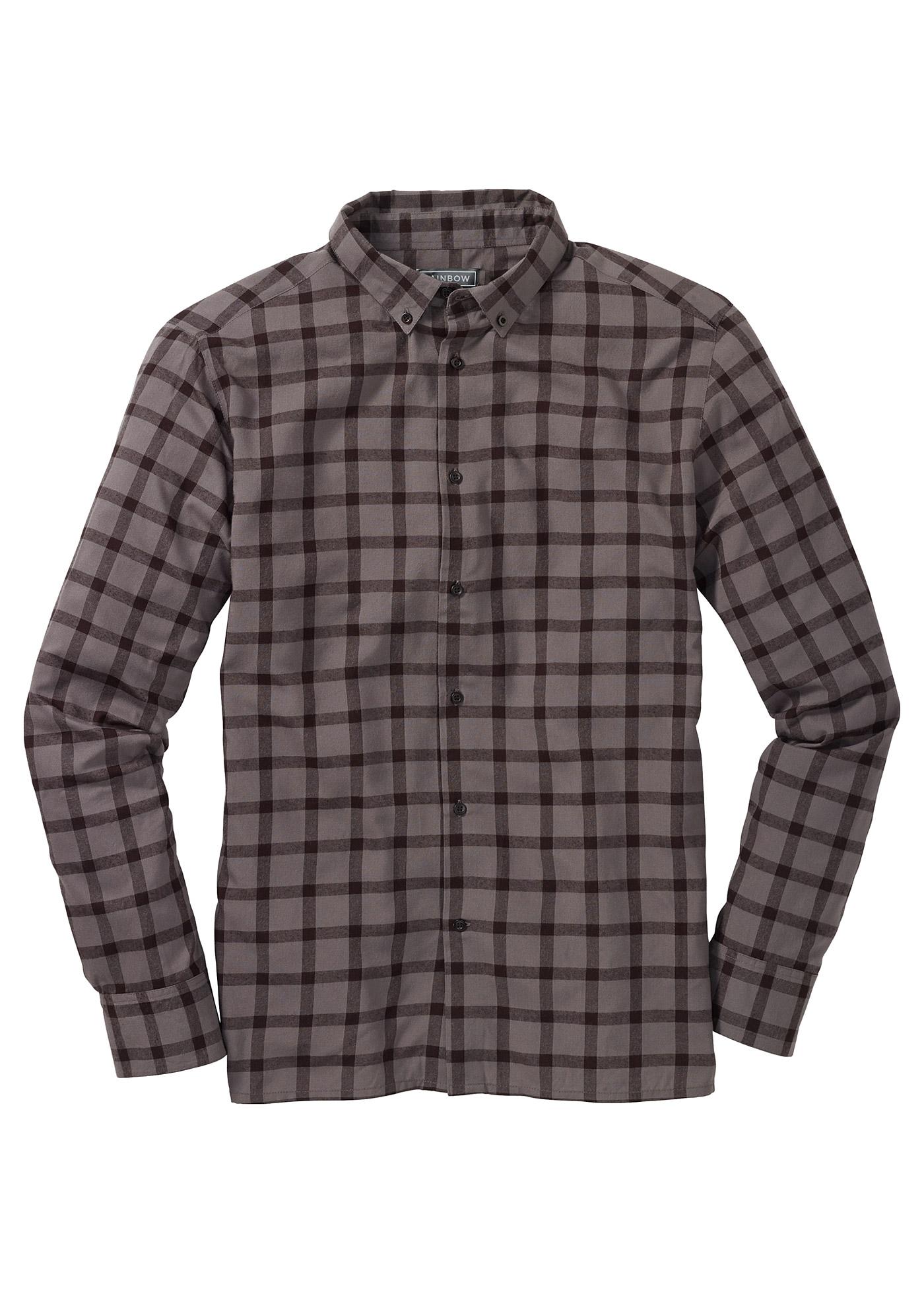 RAINBOW Langarmhemd in grau für Herren von bonprix Herrenmode Herrenbekleidung Herren Hemden Herren Hemd Langarm