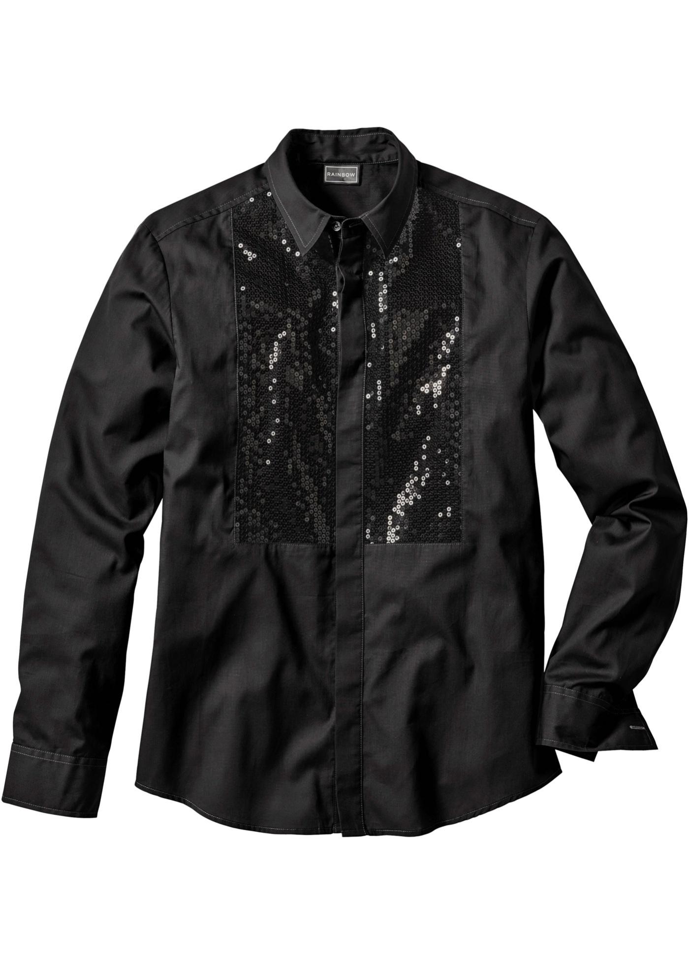 RAINBOW Langarmhemd in schwarz für Herren von bonprix Herrenmode Herrenbekleidung Herren Hemden Herren Hemd Langarm