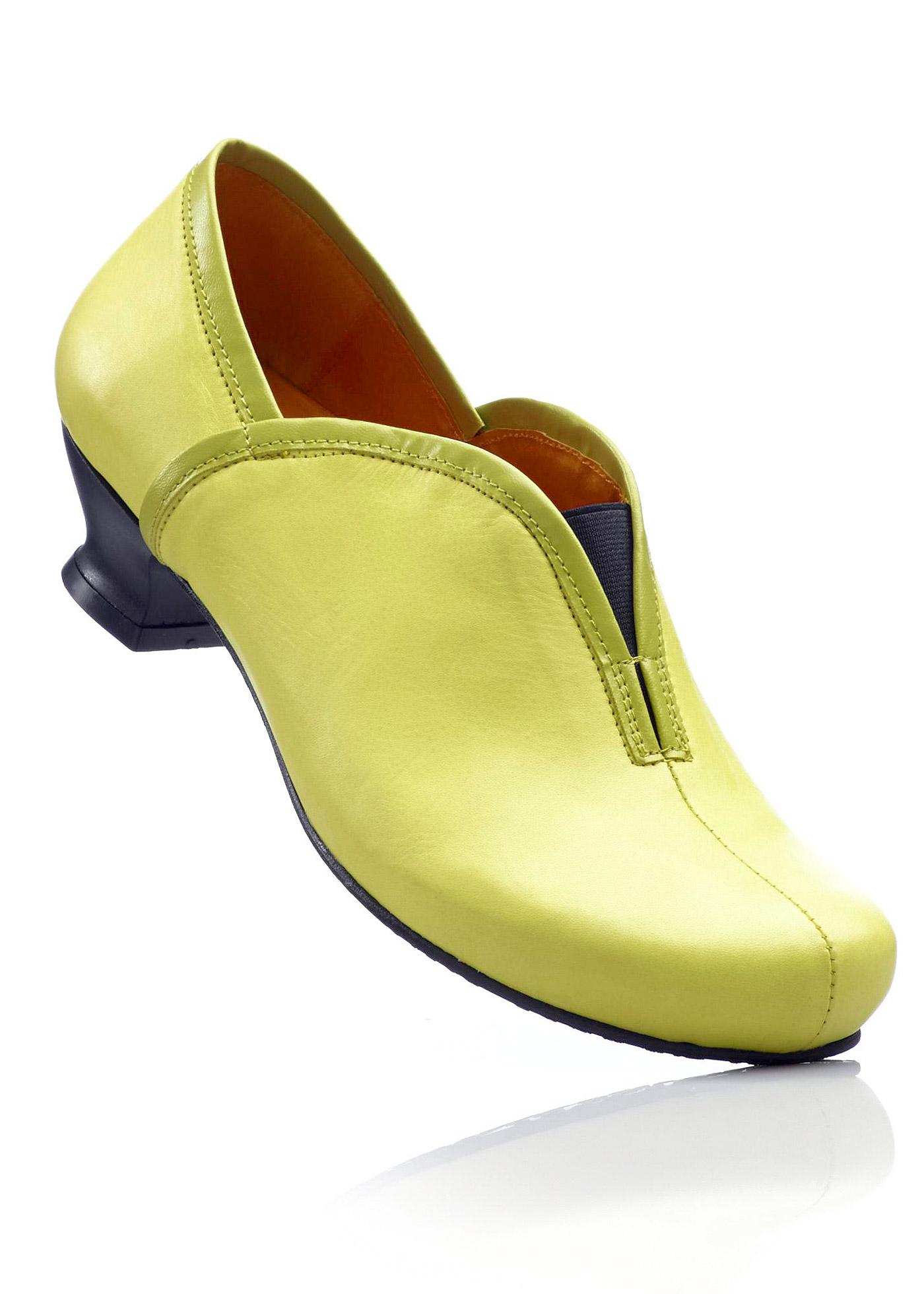 Ledertrotteur mit 4 cm Trichterabsatz in grün von bonprix Schuhe und Accessoires > Damenschuhe > Bequemschuhe
