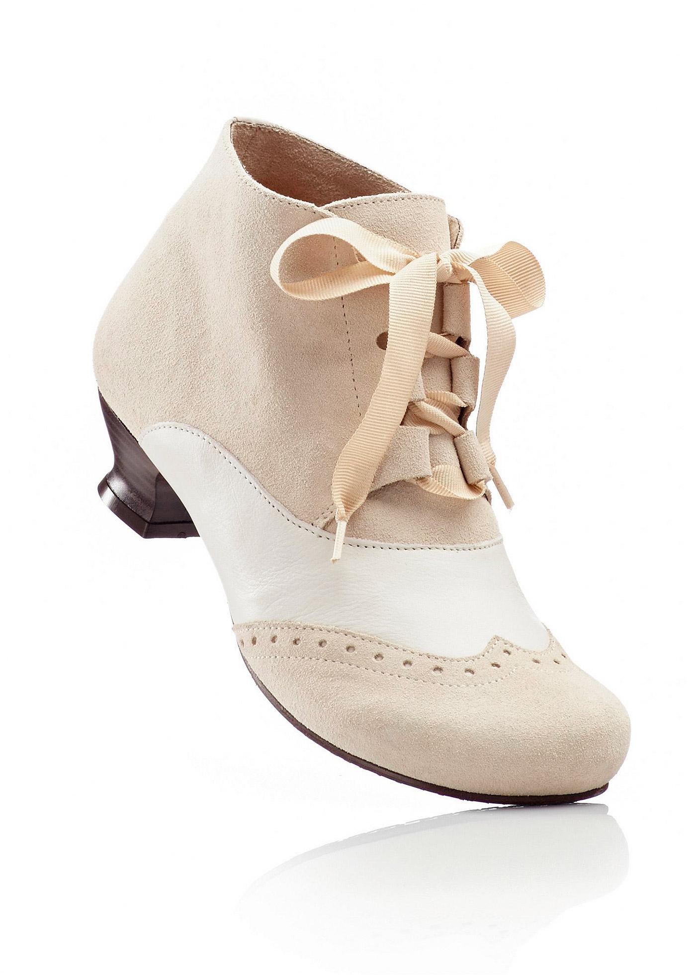 Lederstiefelette in beige für Damen von bonprix Schuhe und Accessoires > Damenschuhe > Bequemschuhe