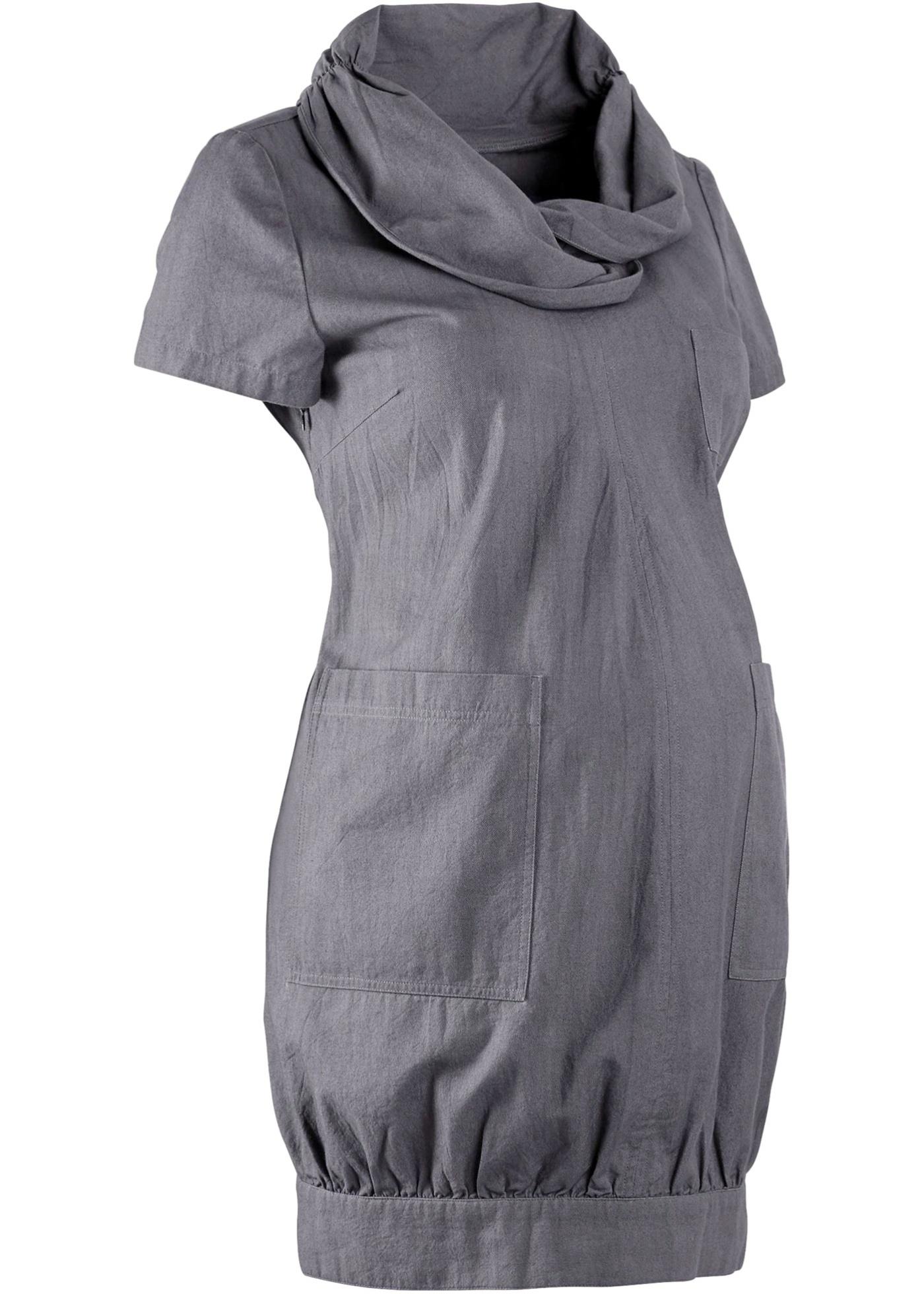 bpc bonprix collection Umstandsmoden Ballon-Kleid mit Erweiterungsfunktion in Bio-Baumwolle in grau von bonprix