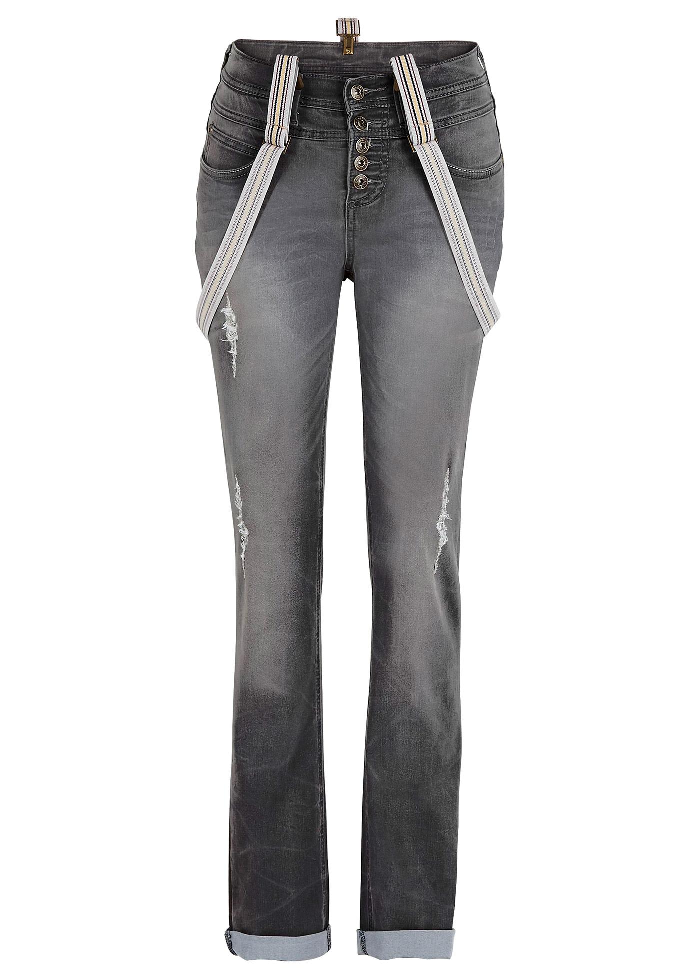Jeans mit Hosenträgern in grau für Damen von bonprix Damenmode > Damenbekleidung > Jeans > lange Jeans