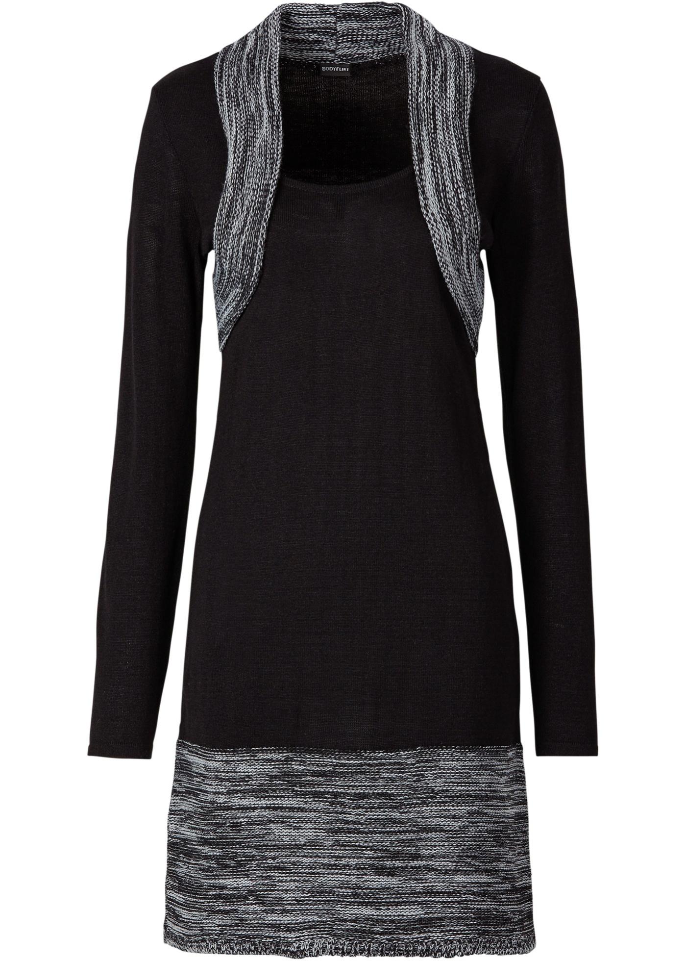 Strickkleid langarm  in schwarz von bonprix Damenmode > Damenbekleidung > Kleider > Langarmkleider