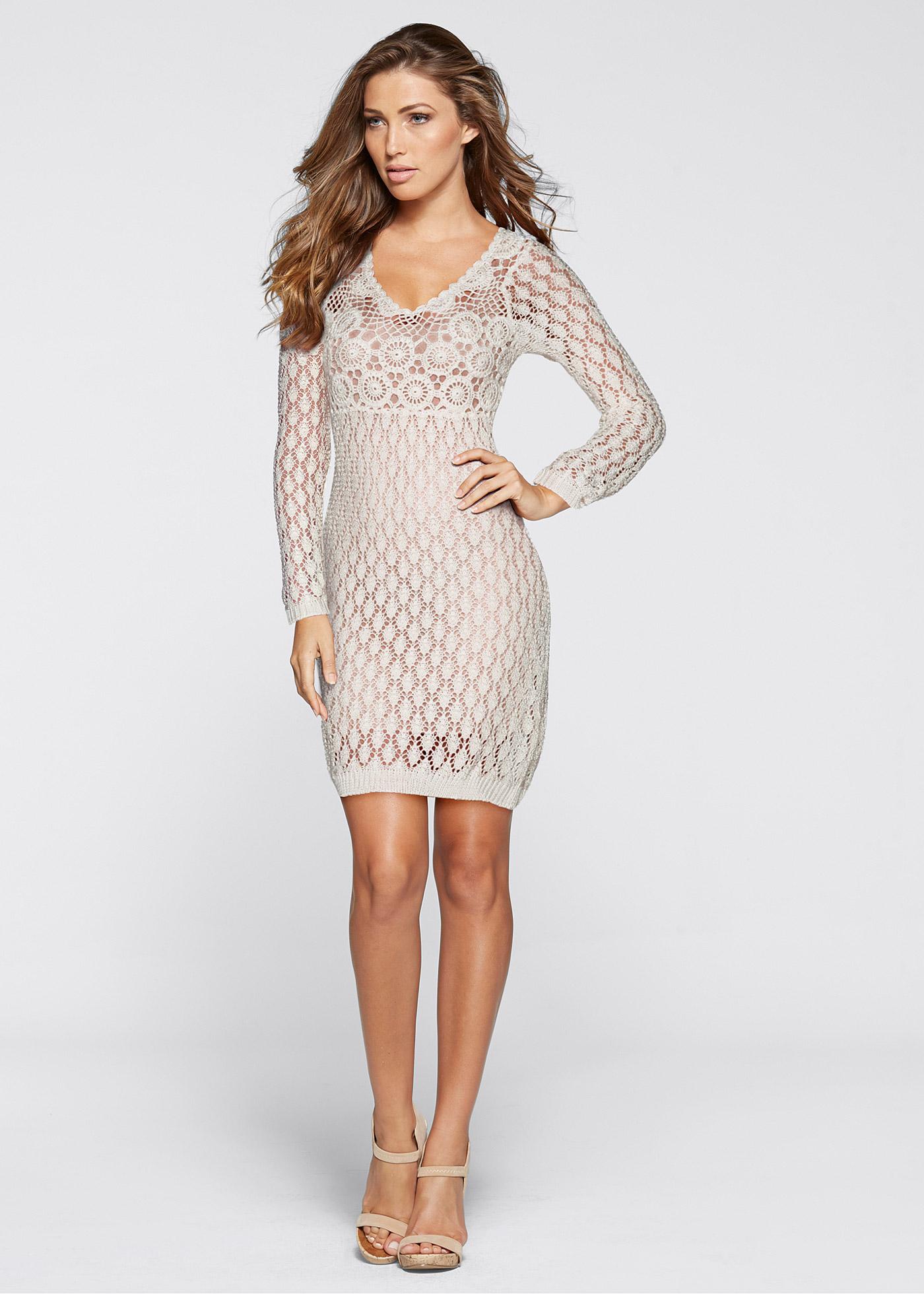 Купить Платье Вязаное С Кружевом