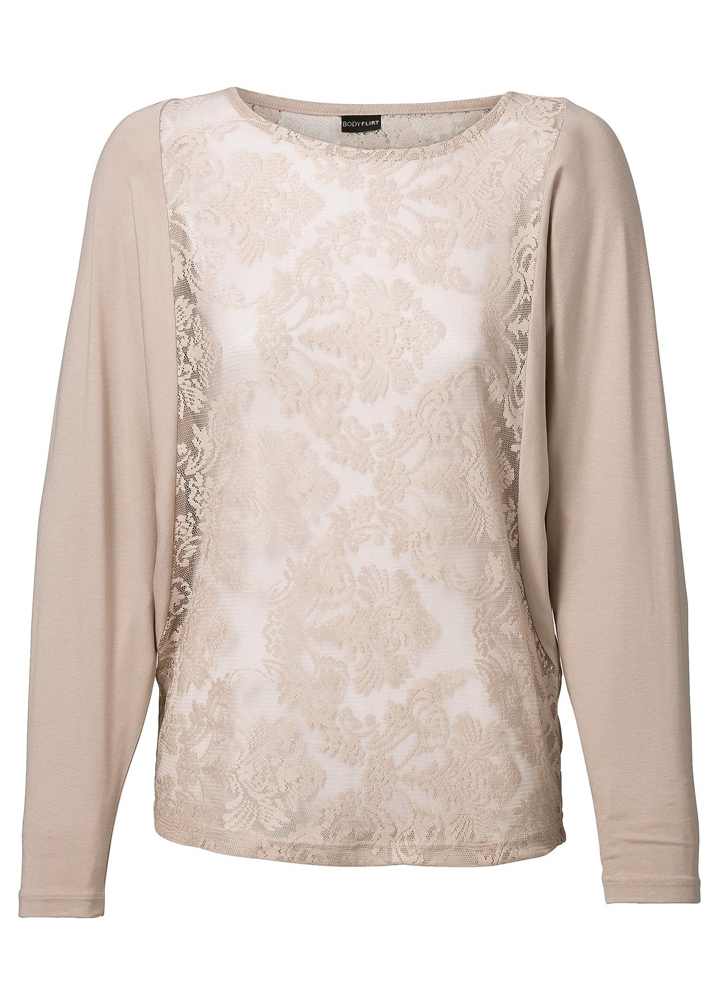 Fledermaus-Shirt mit Spitze in natur für Damen von bonprix
