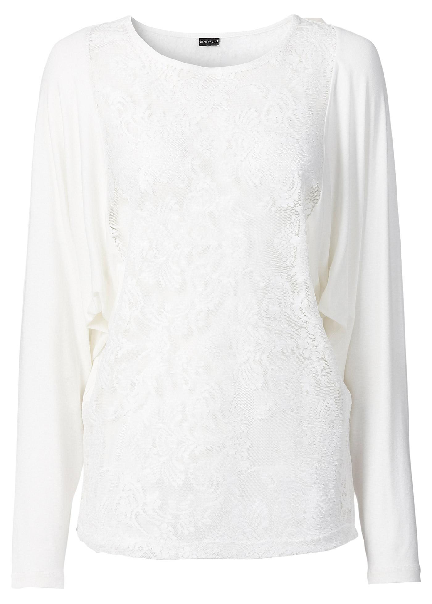 Fledermaus-Shirt mit Spitze in weiß für Damen von bonprix