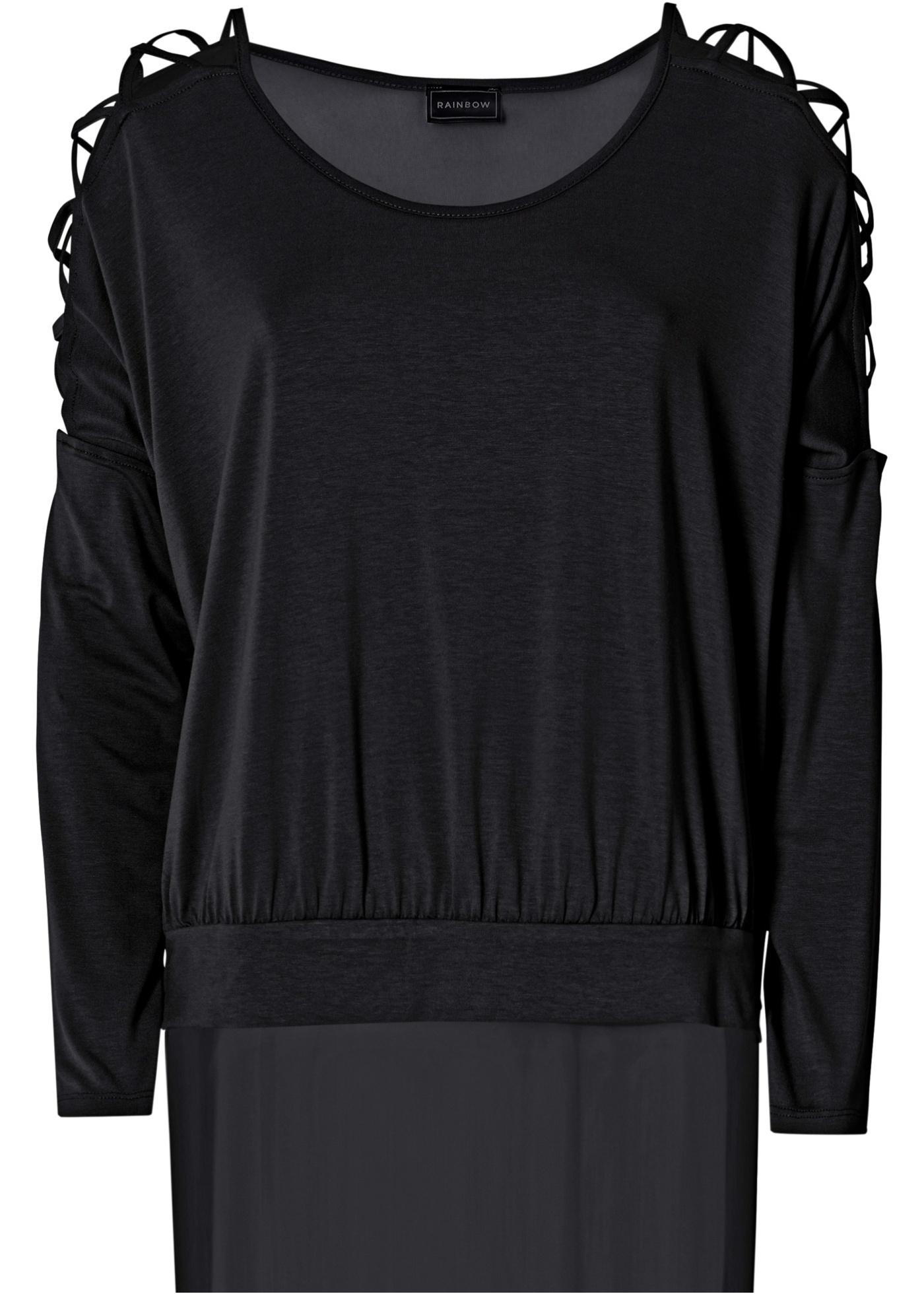 Blusa de malha com recortes preta manga longa com decote redondo