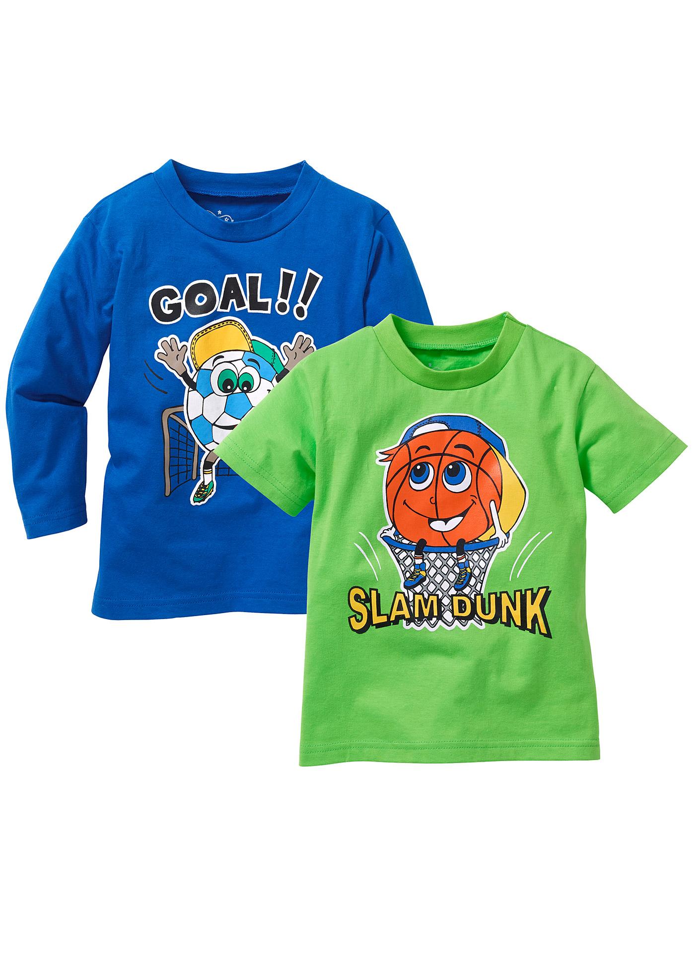 bpc bonprix collection Langarmshirt + T-Shirt (2er-Pack), Gr. 80/86-128/134 in blau für Jungen von bonprix