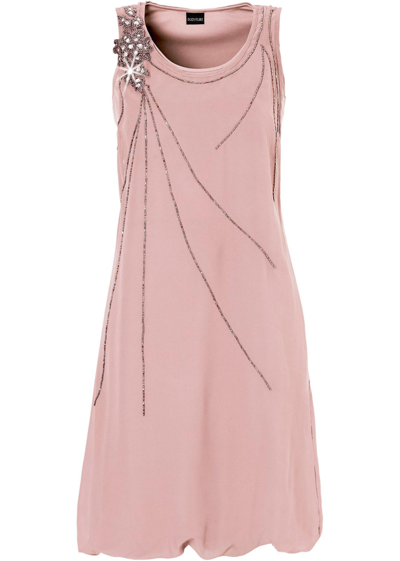 Vestido balonê com pedrarias rosa com decote redondo