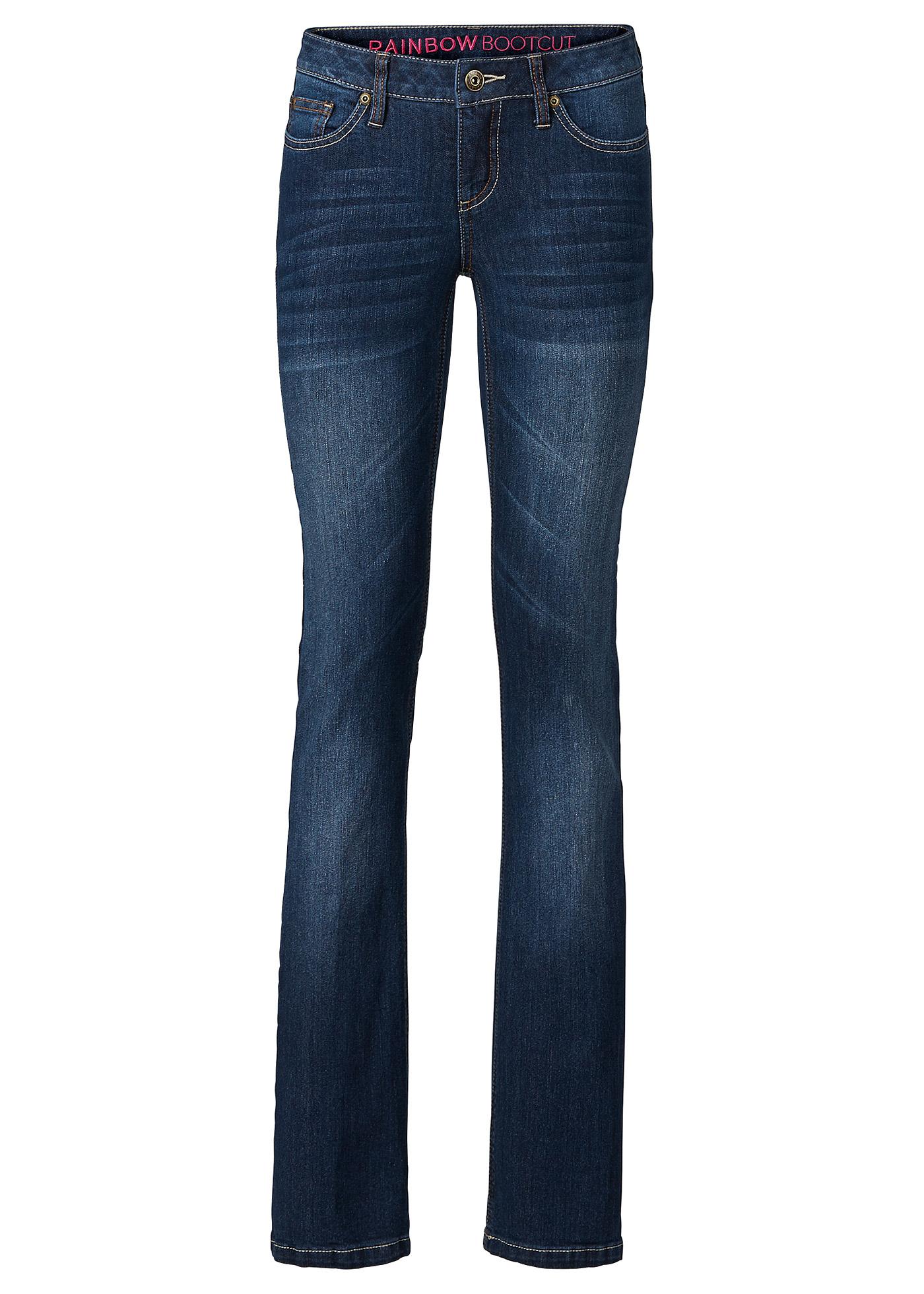 Calça jeans bootcut, Tamanho normal preta