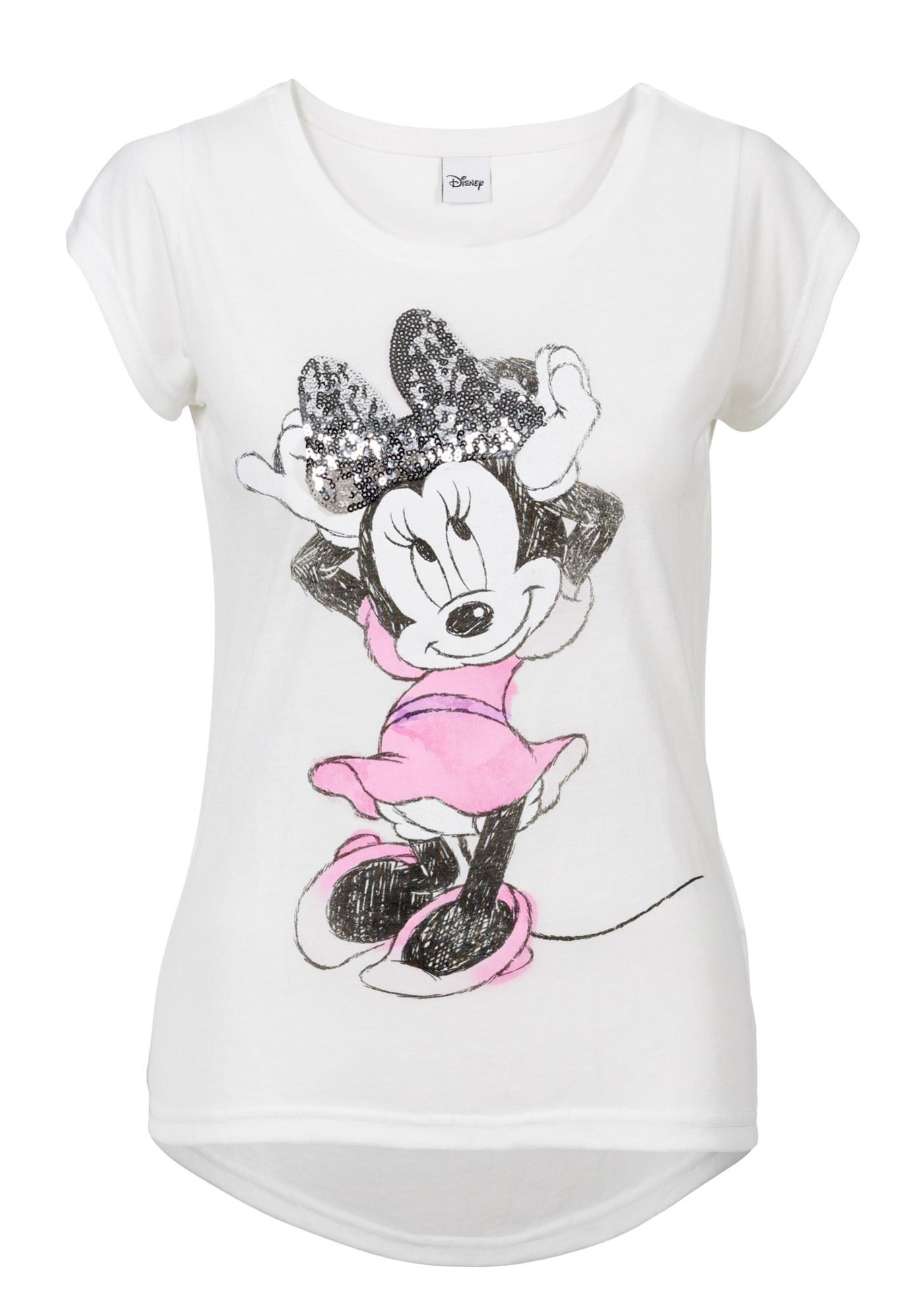 Rainbow T-Shirt mit Pailletten Minnie kurzer Arm  in weiß für Damen von bonprix