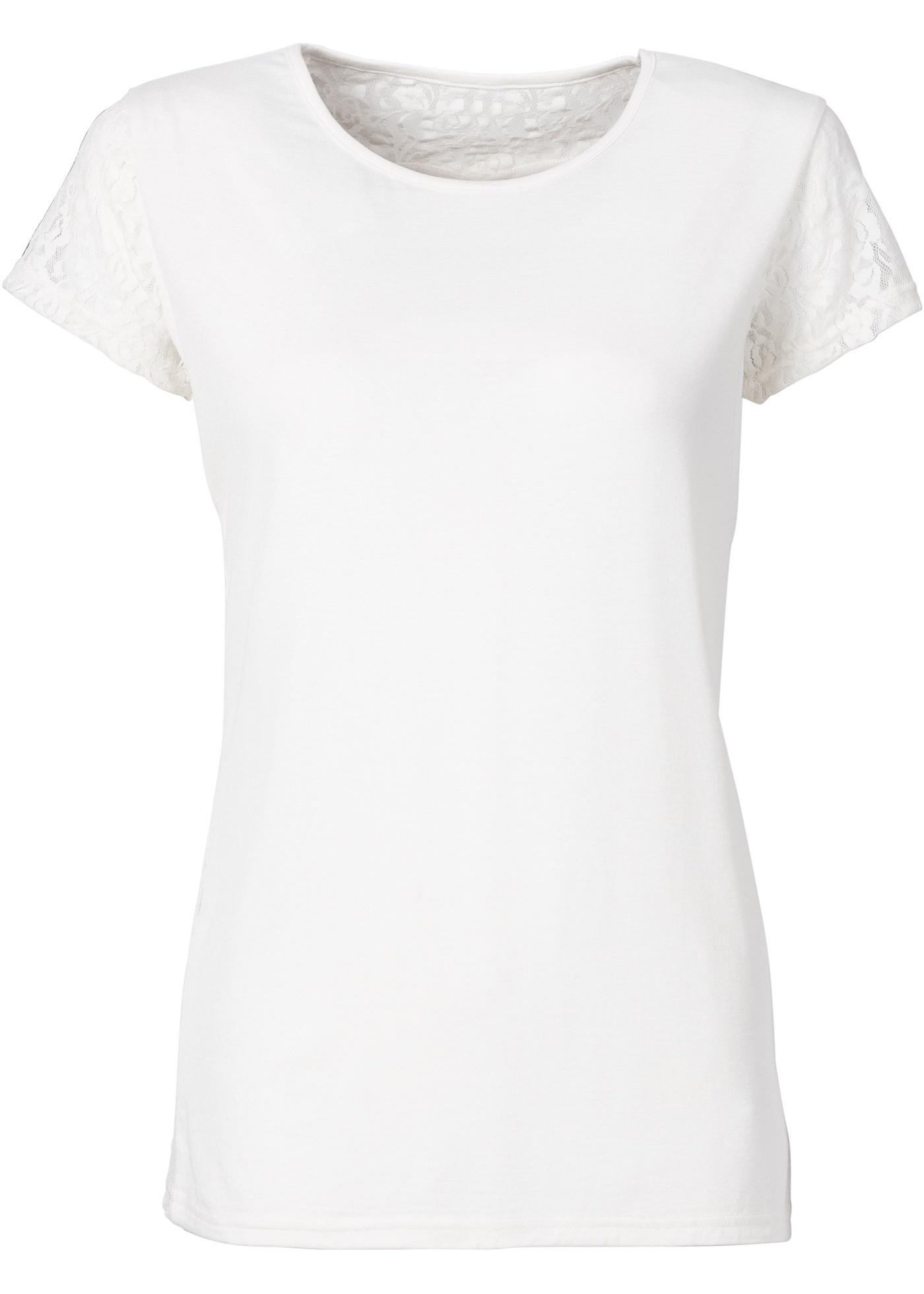 Rainbow Shirt mit Spitze und Herzausschnitt kurzer Arm  in weiß für Damen von bonprix