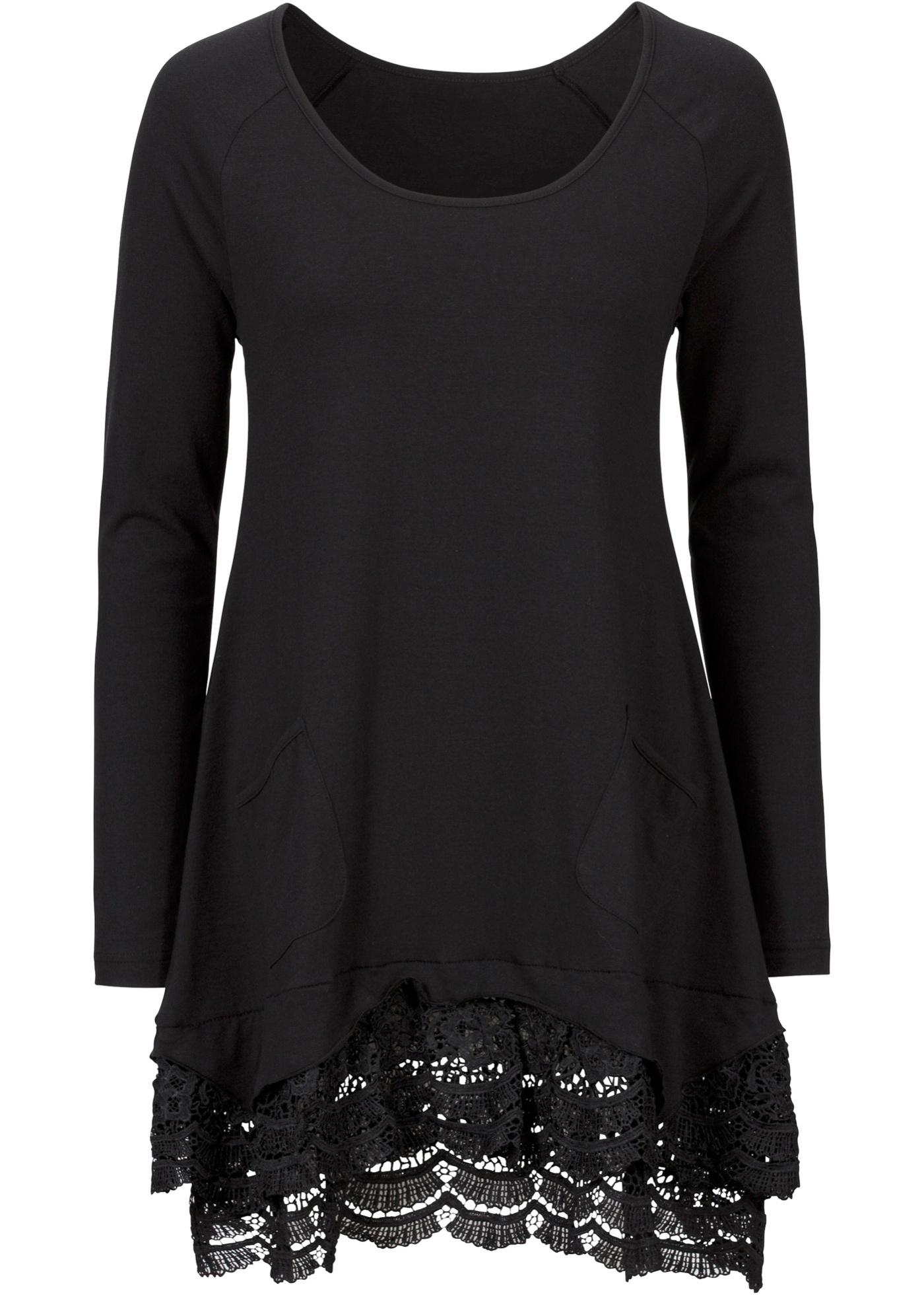 bpc bonprix collection Langärmlige Shirt-Tunika mit Spitze langarm  in schwarz für Damen von bonprix
