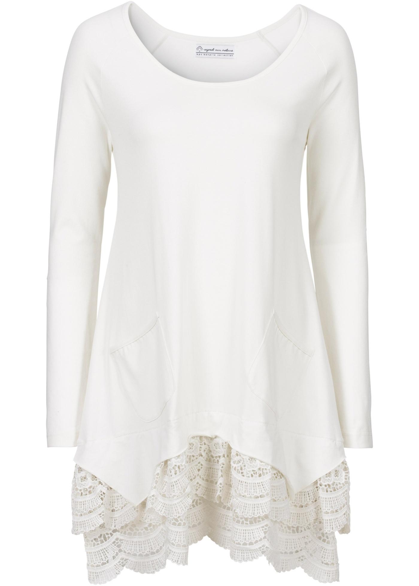 bpc bonprix collection Langärmlige Shirt-Tunika mit Spitze langarm  in weiß für Damen von bonprix
