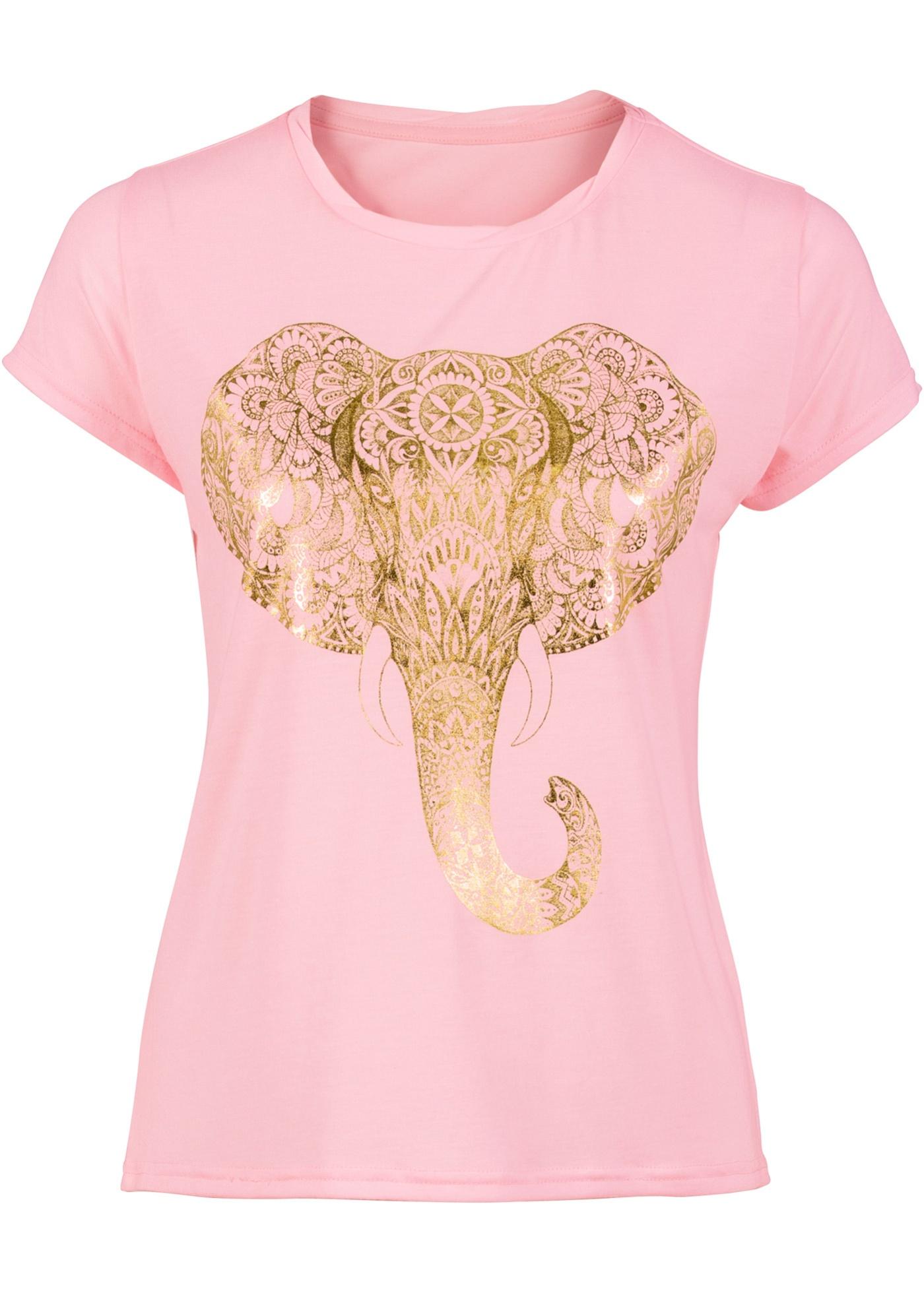 Camiseta manga curta estampada rosa