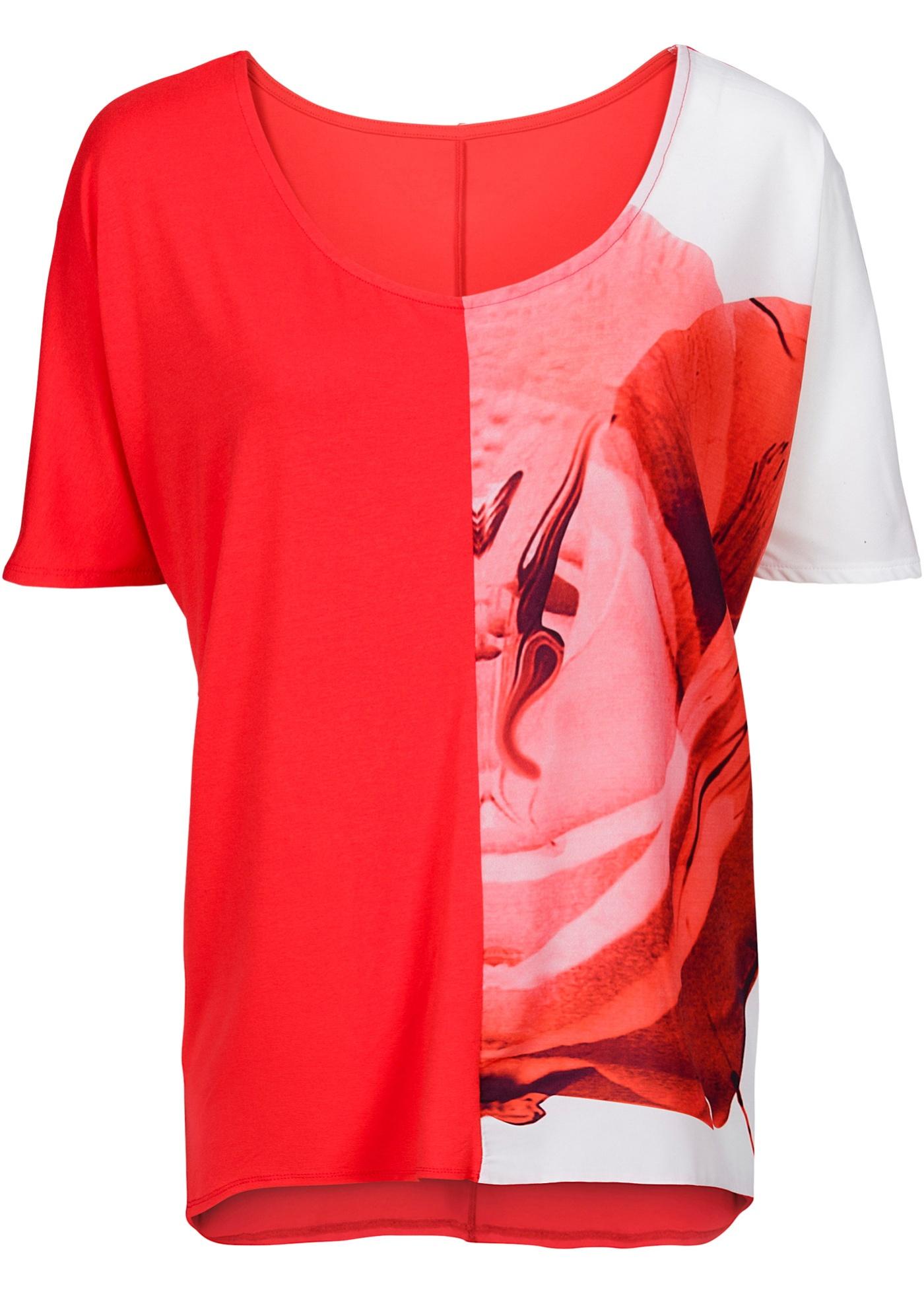 Camiseta bicolor vermelha com decote redondo