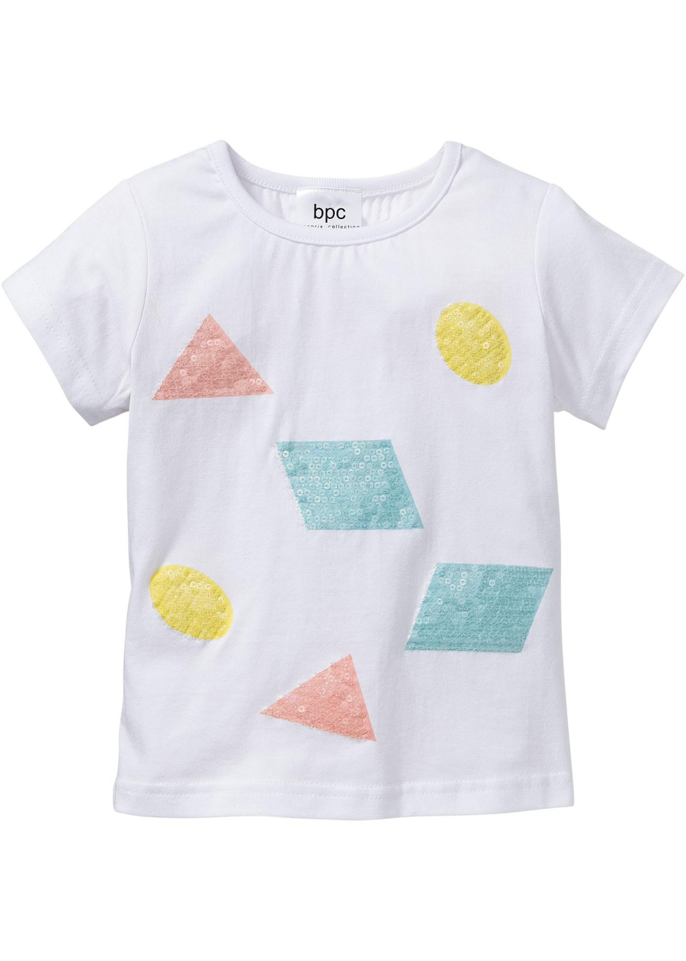 Rainbow bpc bonprix collection T-Shirt mit Pailletten, Gr. 80/86-128/134 kurzer Arm  in weiß für Mädchen von bonprix