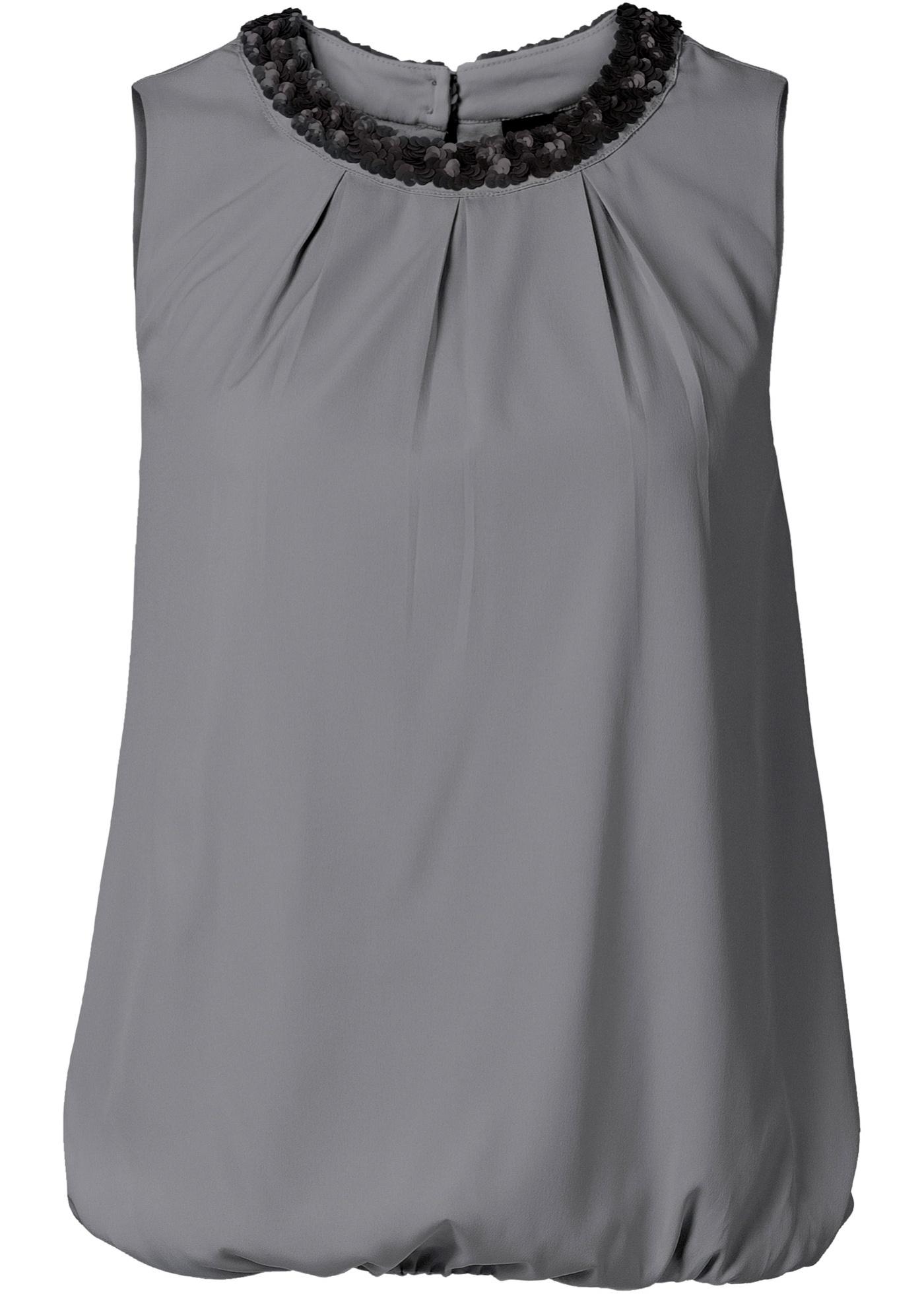 Blusa com lantejoulas cinza sem mangas com decote redondo