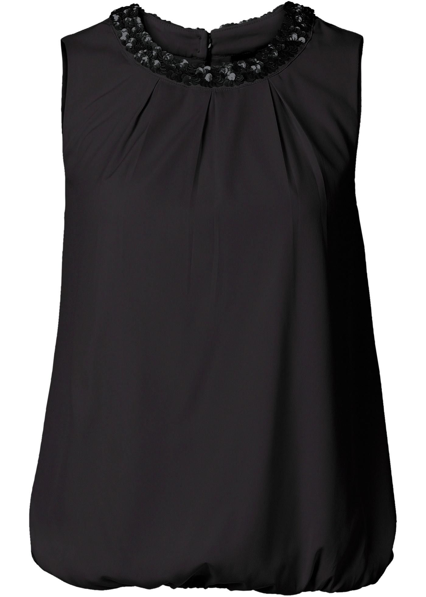 Blusa com lantejoulas preta sem mangas com decote redondo