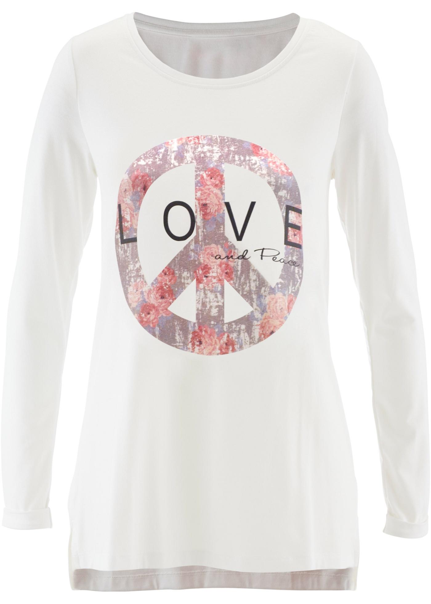 Camiseta com estampa localizada branca manga longa com decote redondo