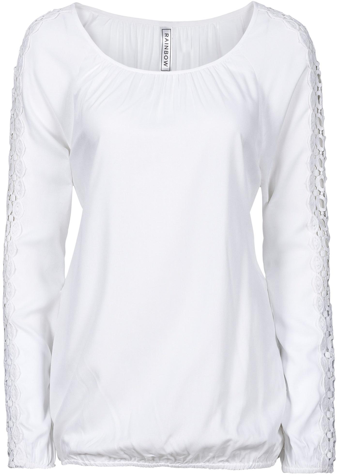 Bata com detalhes de crochê branca manga longa com decote redondo