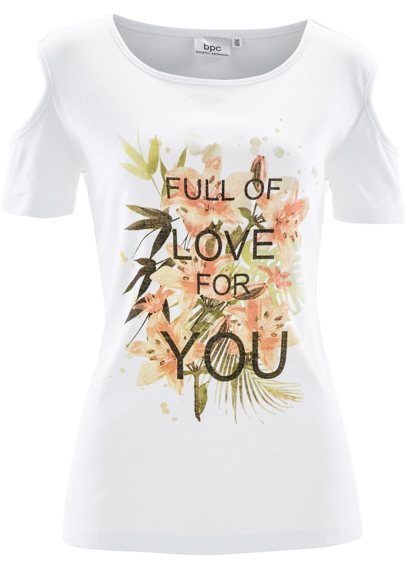 Camiseta com recortes nas mangas branca com decote redondo