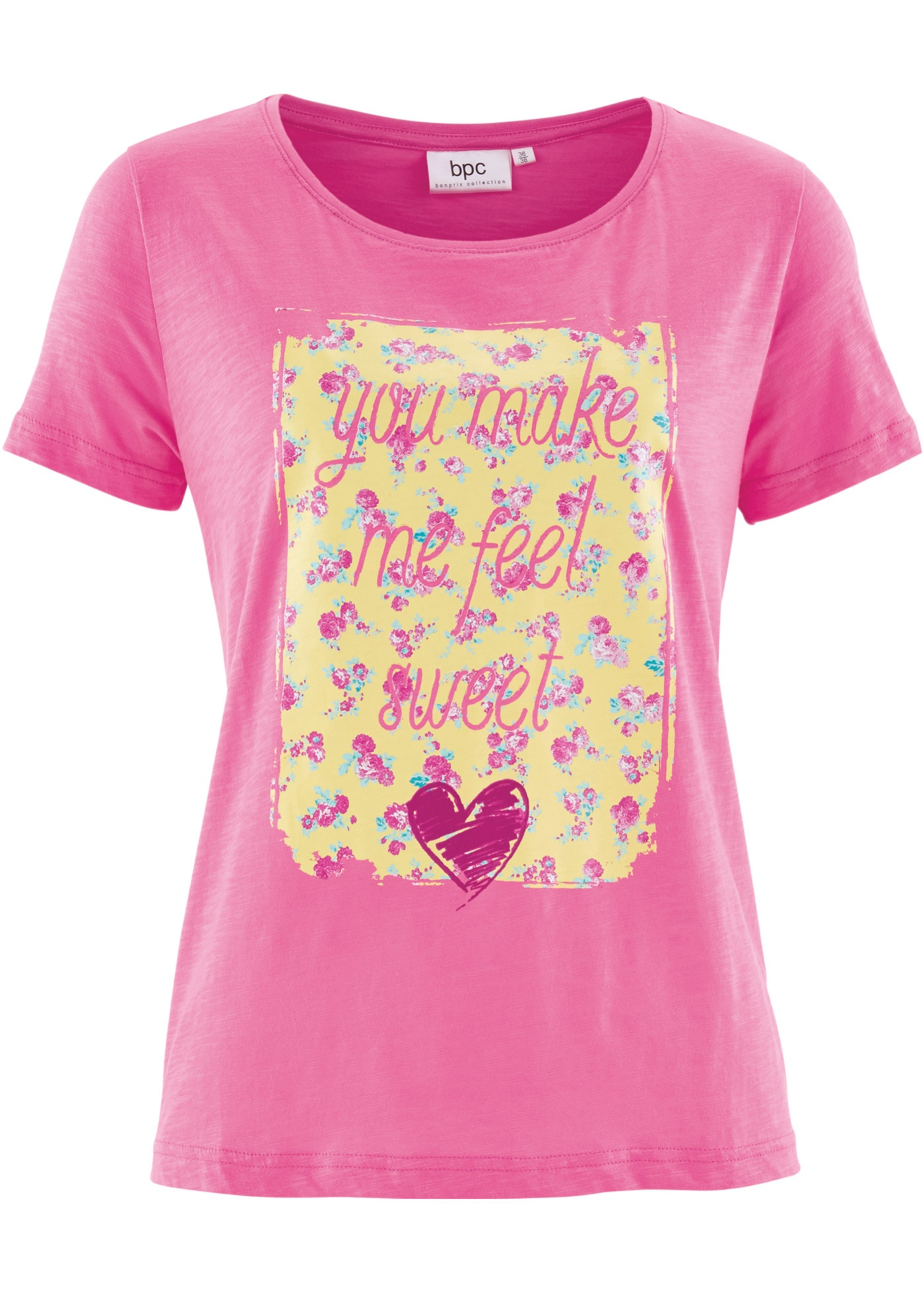 Camiseta manga curta pink com decote redondo